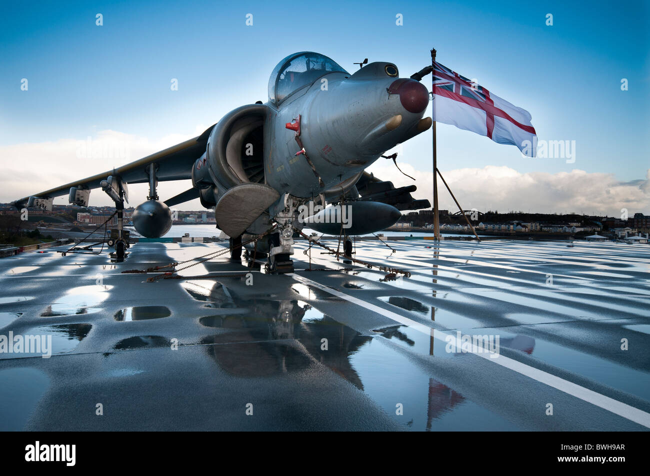 A Bae Harrier jump jet on the flight deck of the British aircraft ...