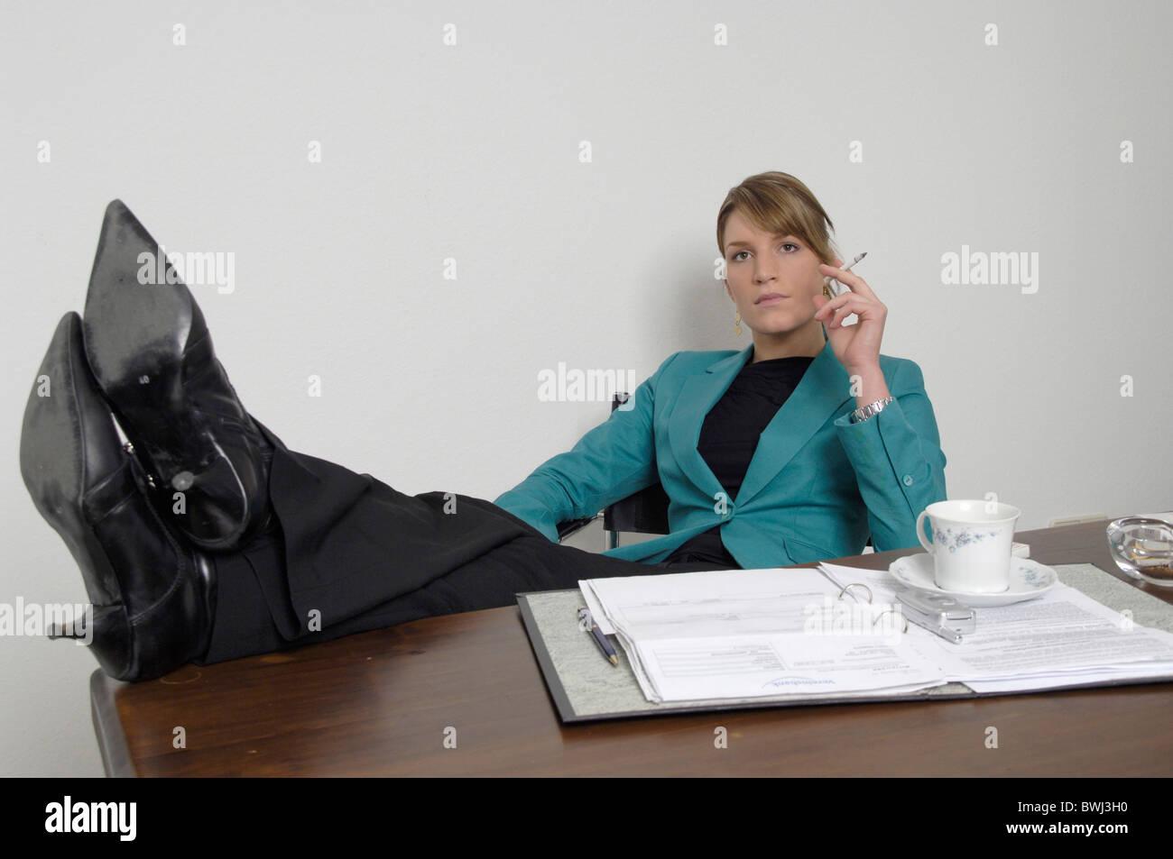 Woman Office Employees Smokings Smoking Relax Cigarette