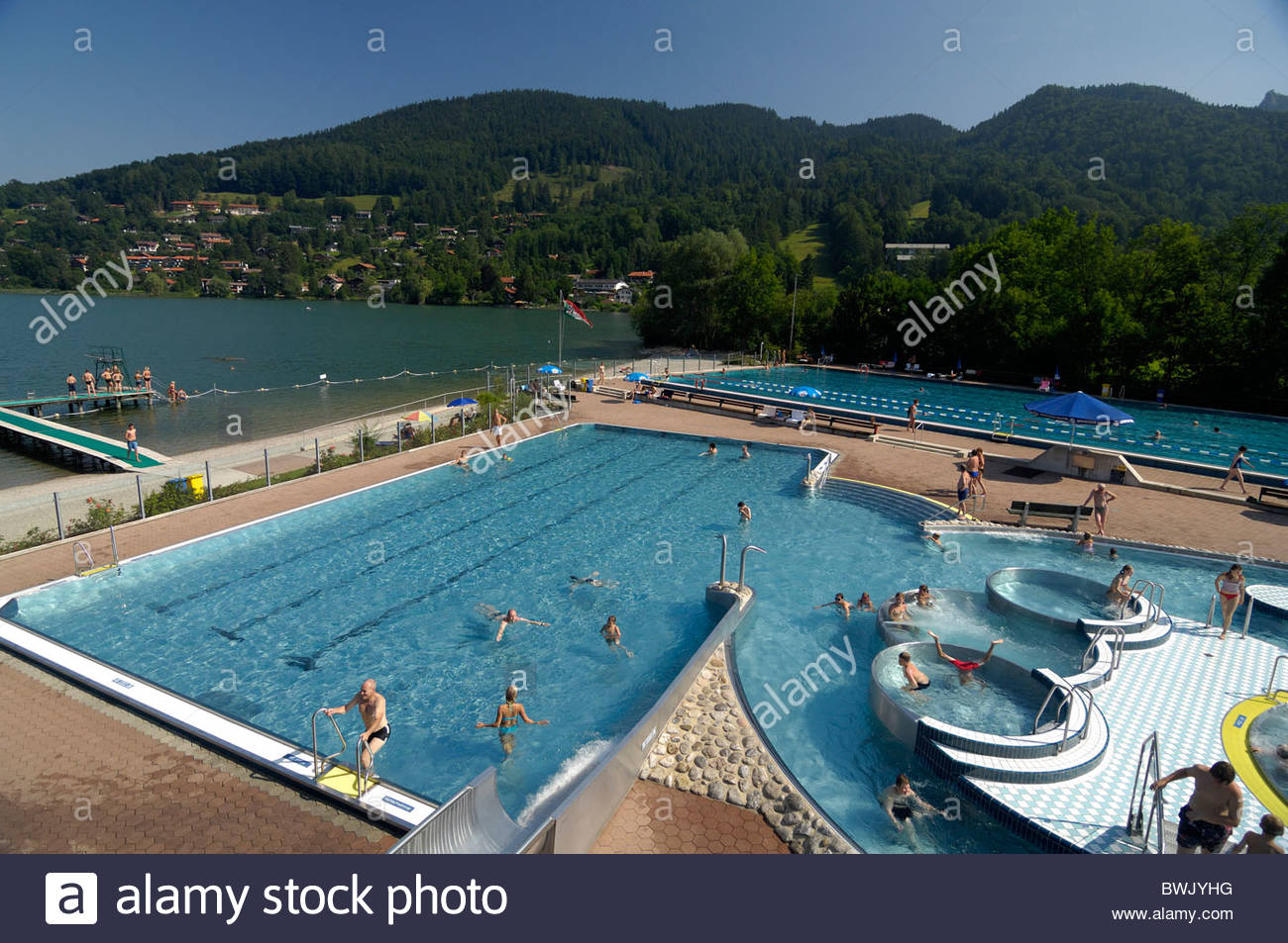 open air swimming pool in rottach egern upper bavaria bavaria stock photo royalty free image