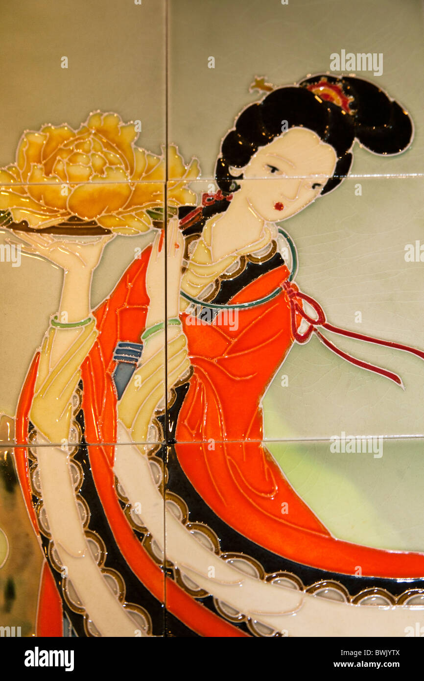Chinese woman depicted on ceramic tiles china stock photo royalty chinese woman depicted on ceramic tiles china dailygadgetfo Images