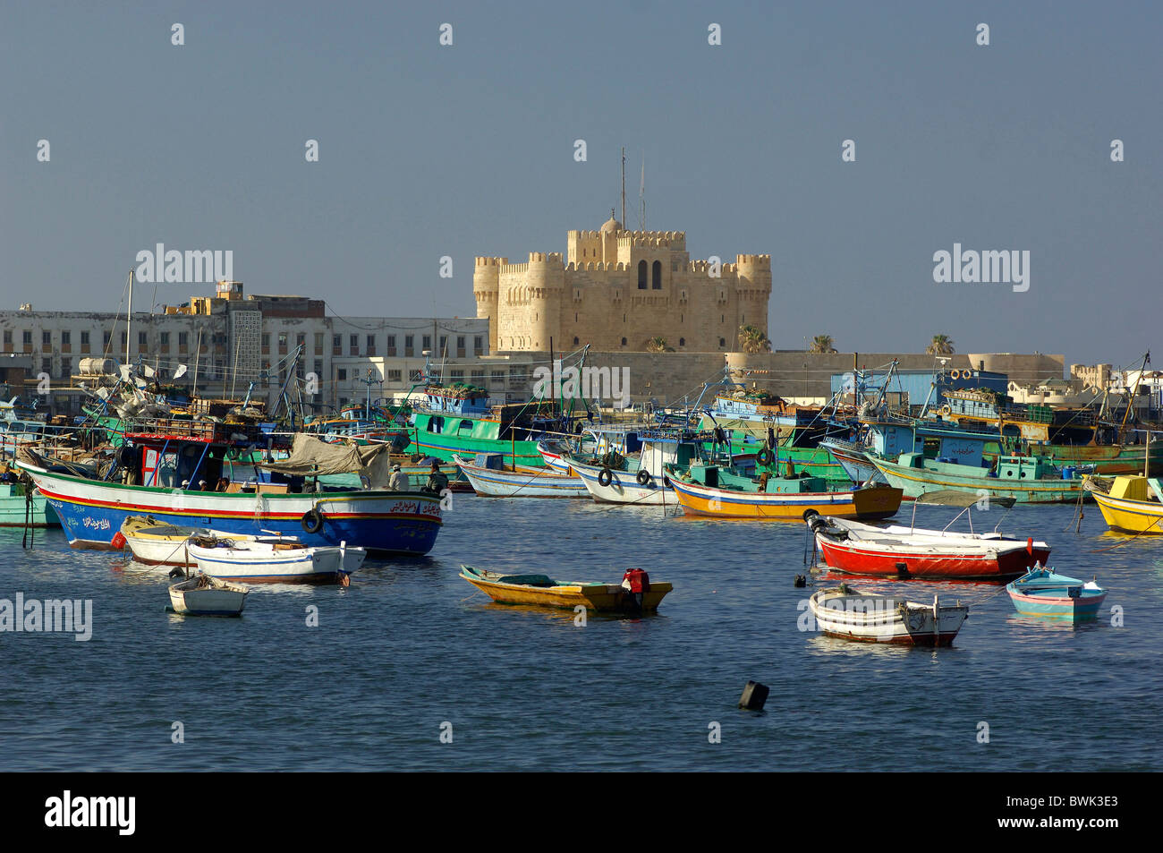Stock Photo  Stronghold Fort Qaitbey Harbour Port Boats Sea Coast Alexandria  Egypt North Africa