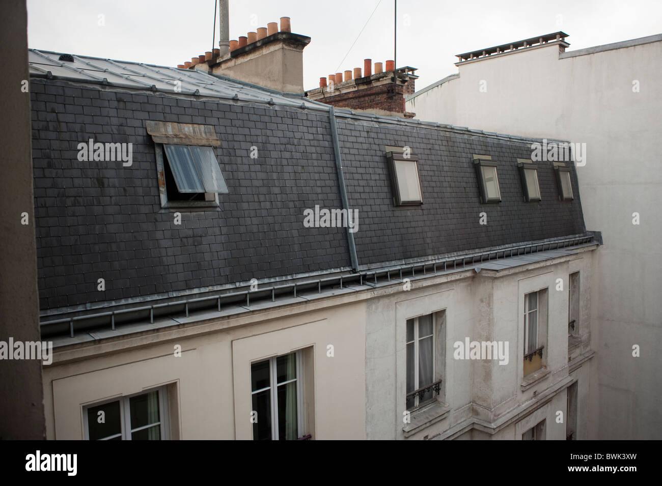 Apartment Building Roof paris, france, old apartment , parisian building, top floor, view