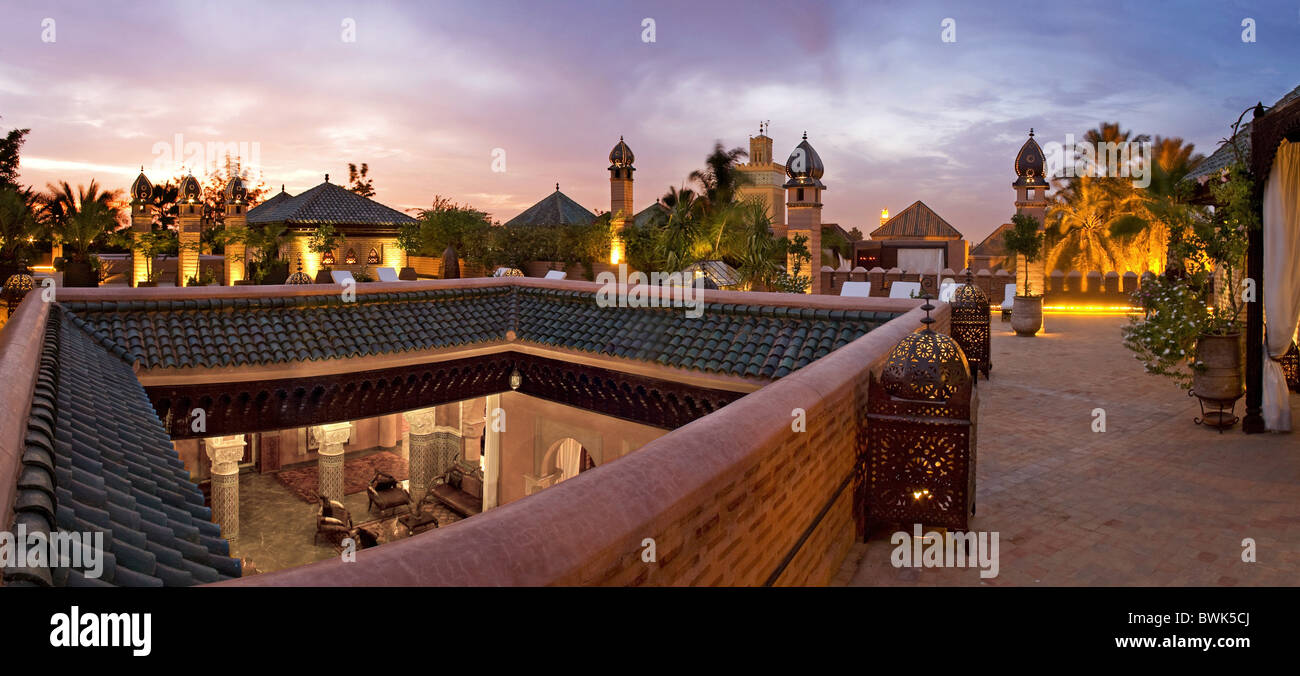 Rooftop terrace of riad la sultana luxury hotel marrakech morocco africa