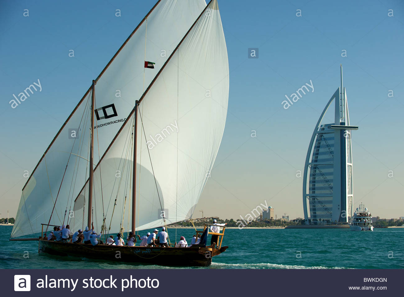 City of dubai with typical dhow sailing boat united arab for The sail hotel dubai