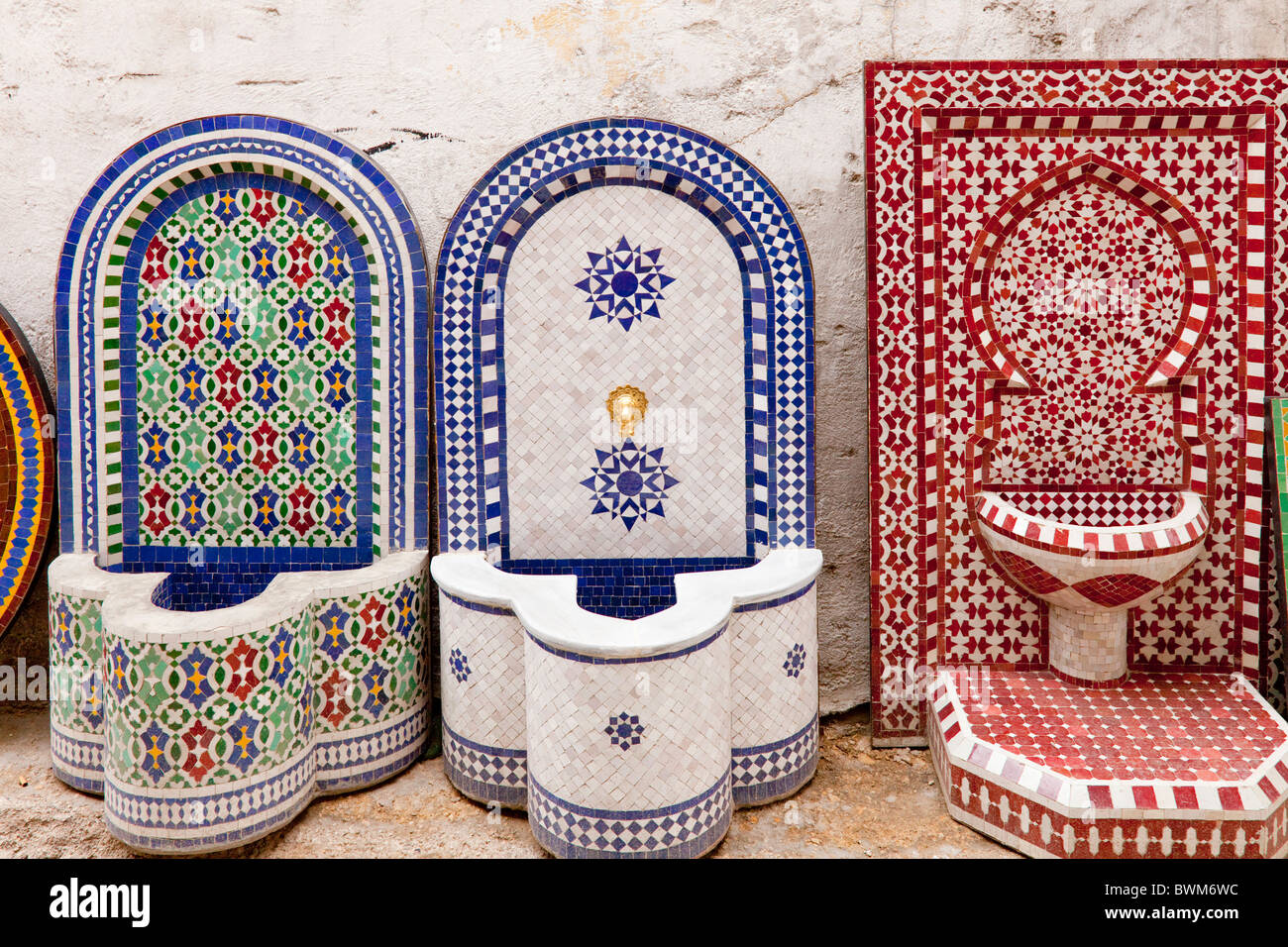 A Ceramic Factory Manufacturing Mosaic Tile Fountains And Furniture In Fes,  Morocco.