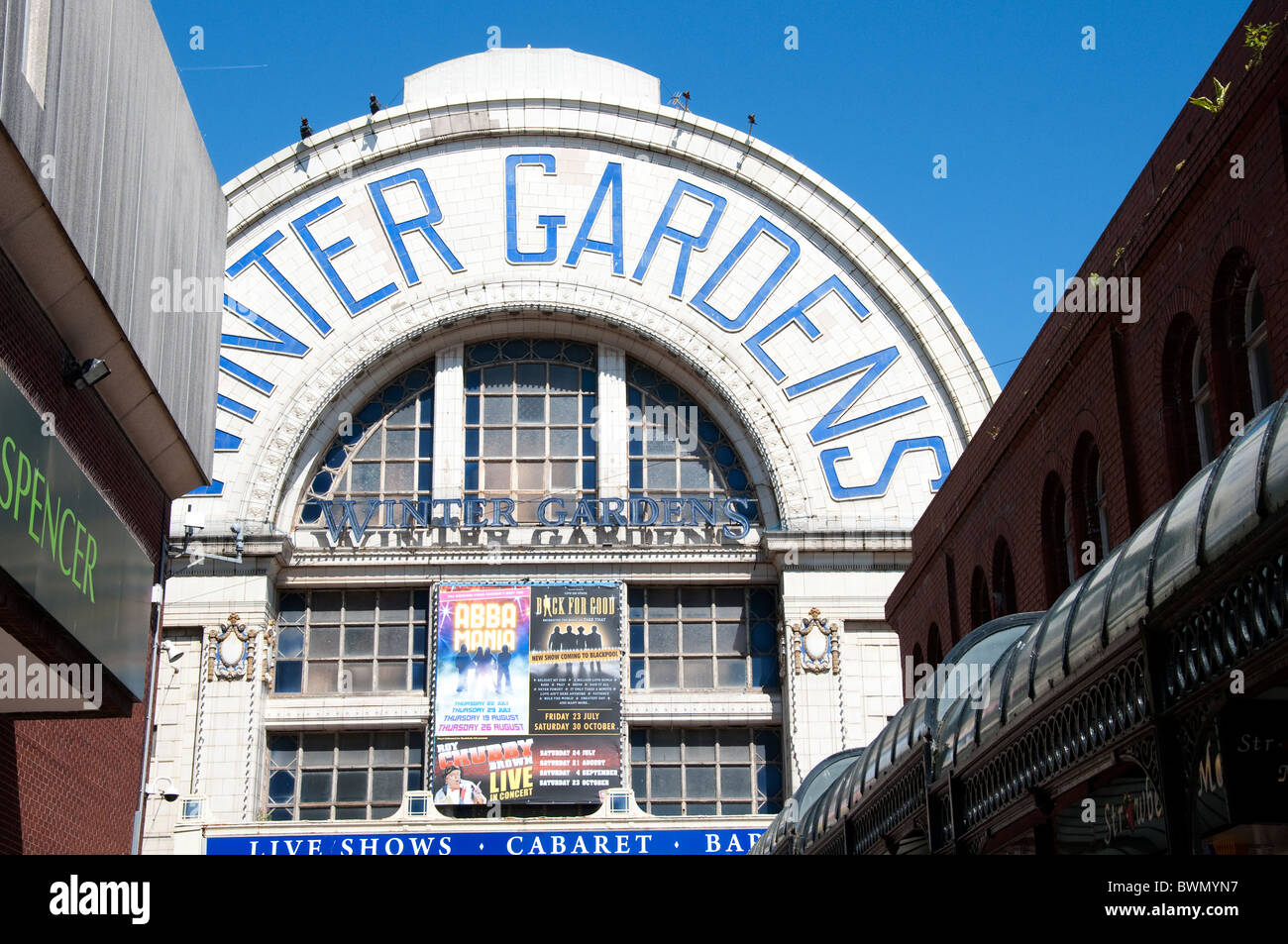 the entrance facade of the winter gardens theatre in blackpool on