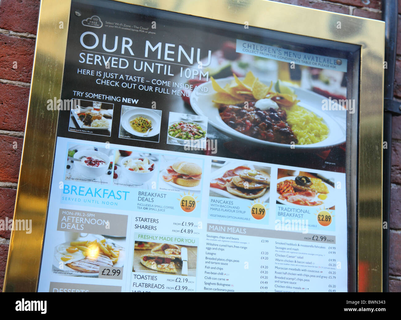 A Menu Outside J D Wetherspoon Bar In UK City