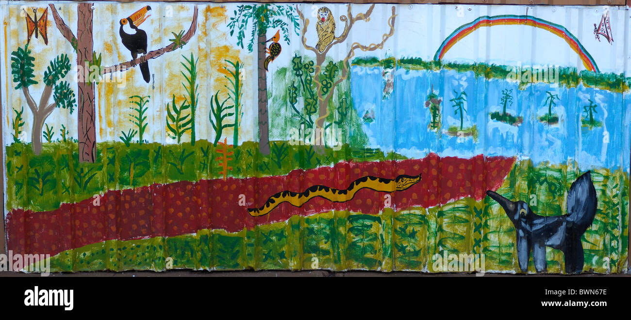 argentina south america panorama mural near san ignacio misiones argentina south america panorama mural near san ignacio misiones south america wall painting rainforest fore