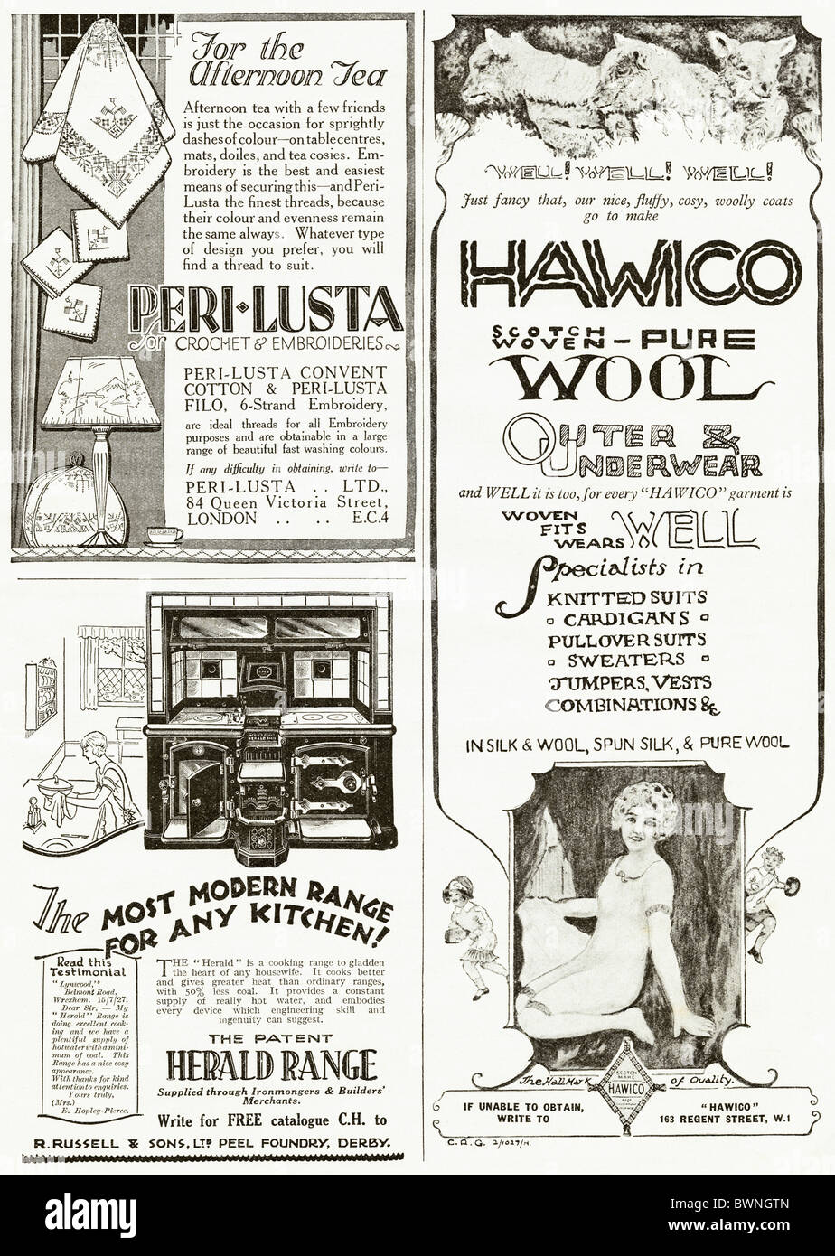 Black and white consumer magazine advertisement for embroidery Stock ...