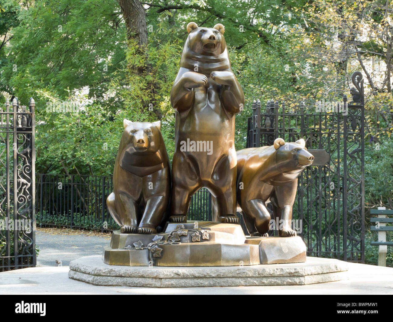 The Group Of Bears Statue Central Park Nyc Stock Photo