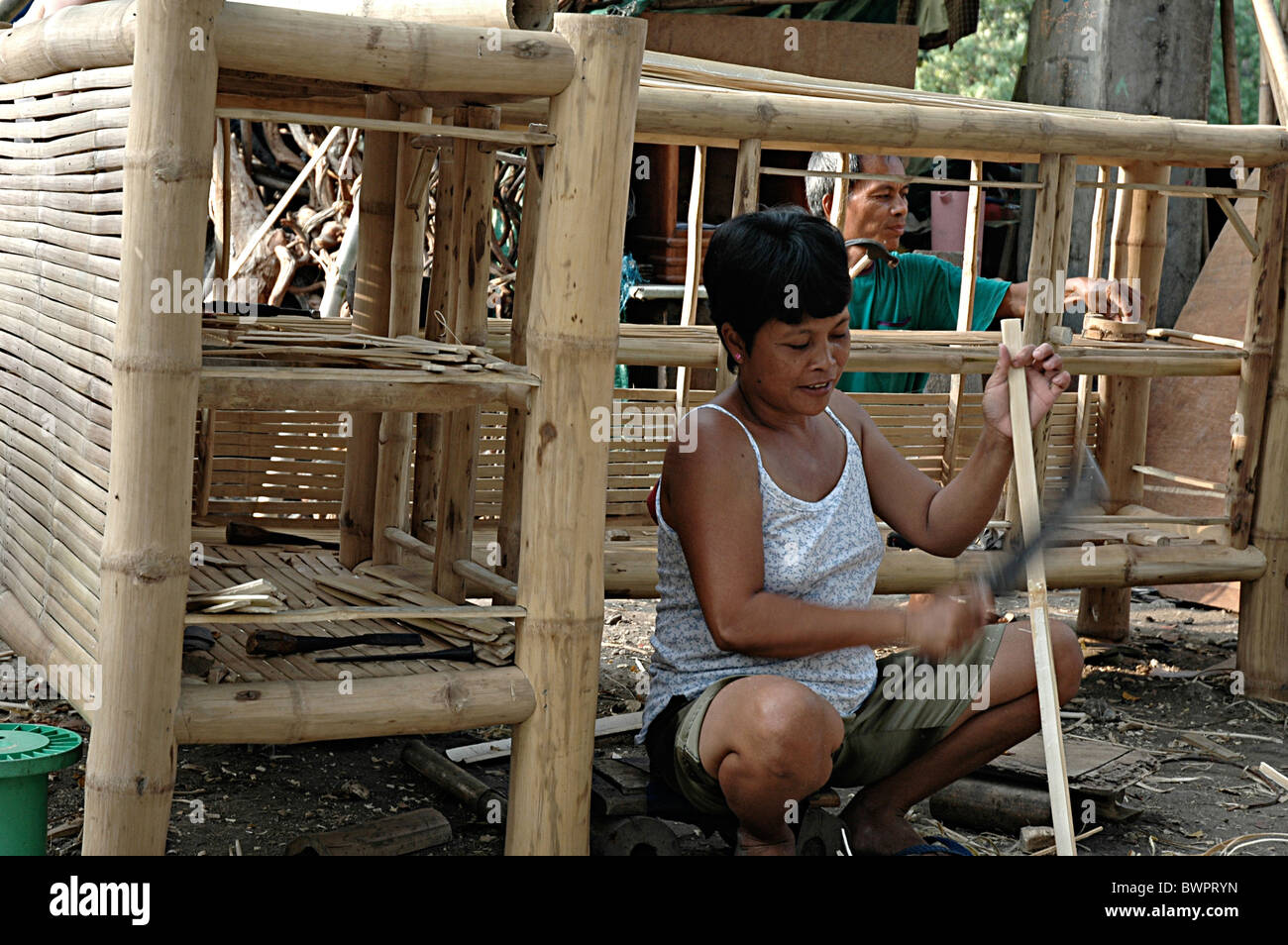 Bamboo Furniture Makers In Lahug Cebu Philippines   Stock Image