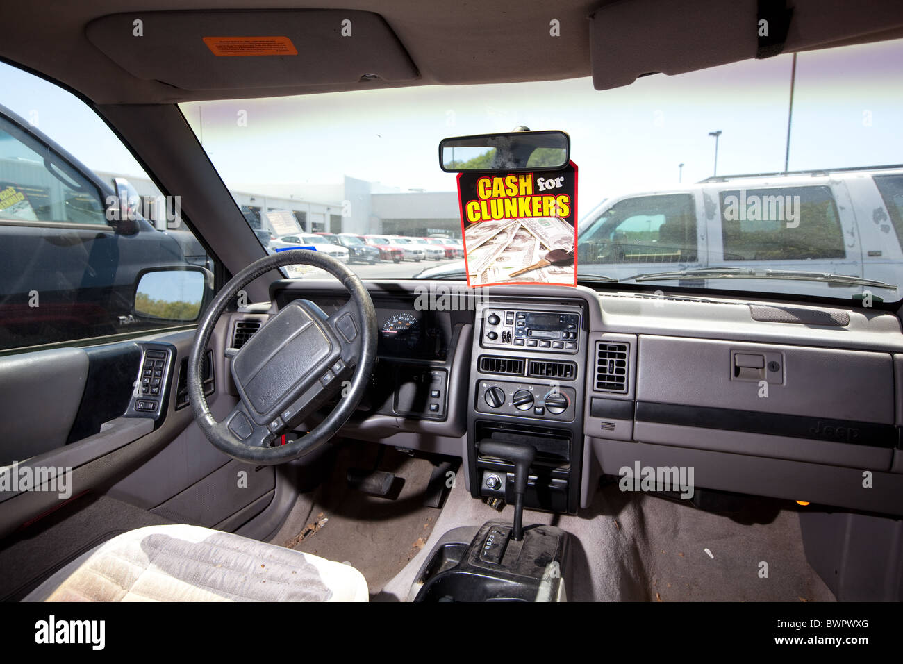 Interior of older used car in poor condition traded in for new ...