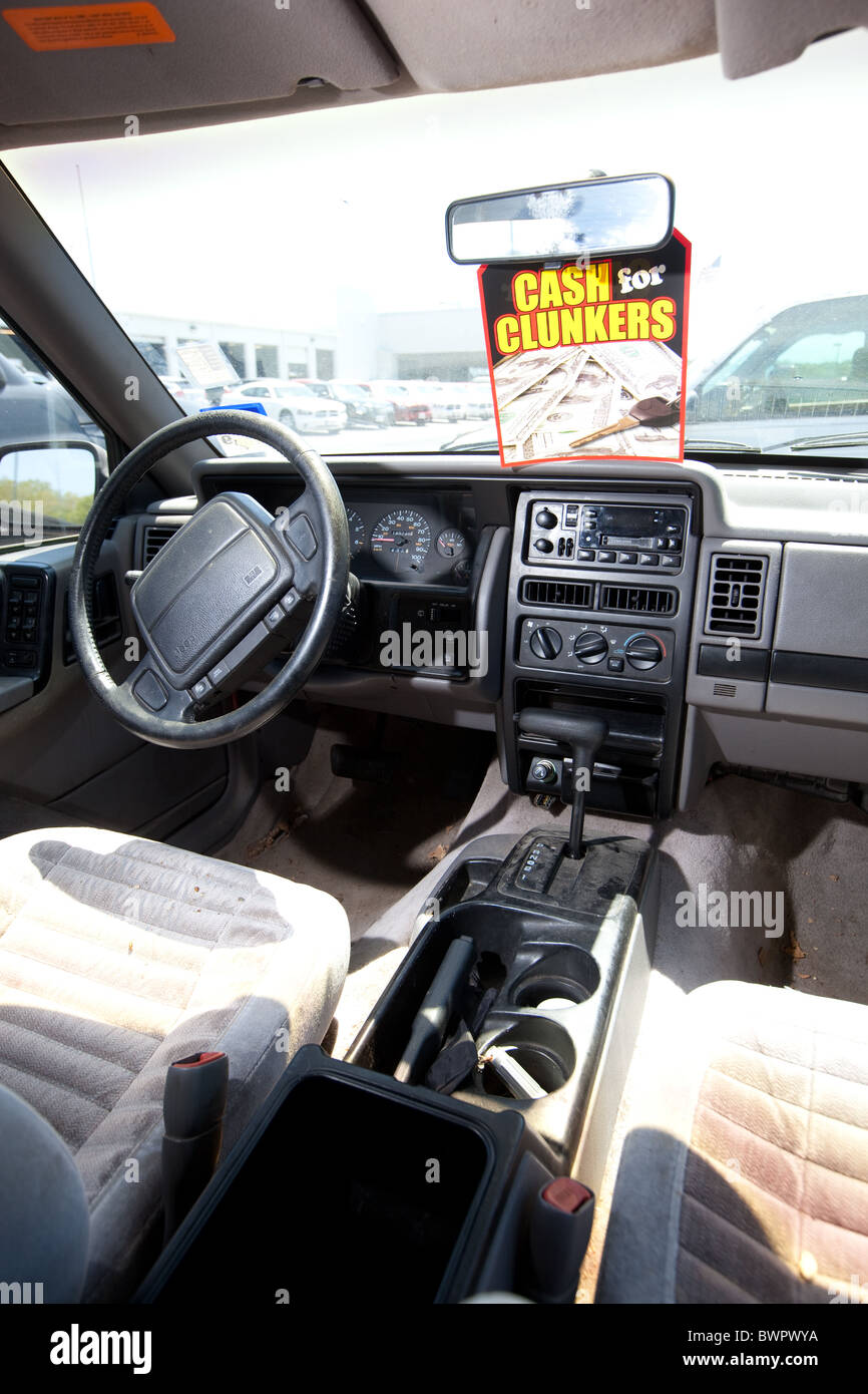 interior of older used car in poor condition traded in for new more stock photo royalty free. Black Bedroom Furniture Sets. Home Design Ideas