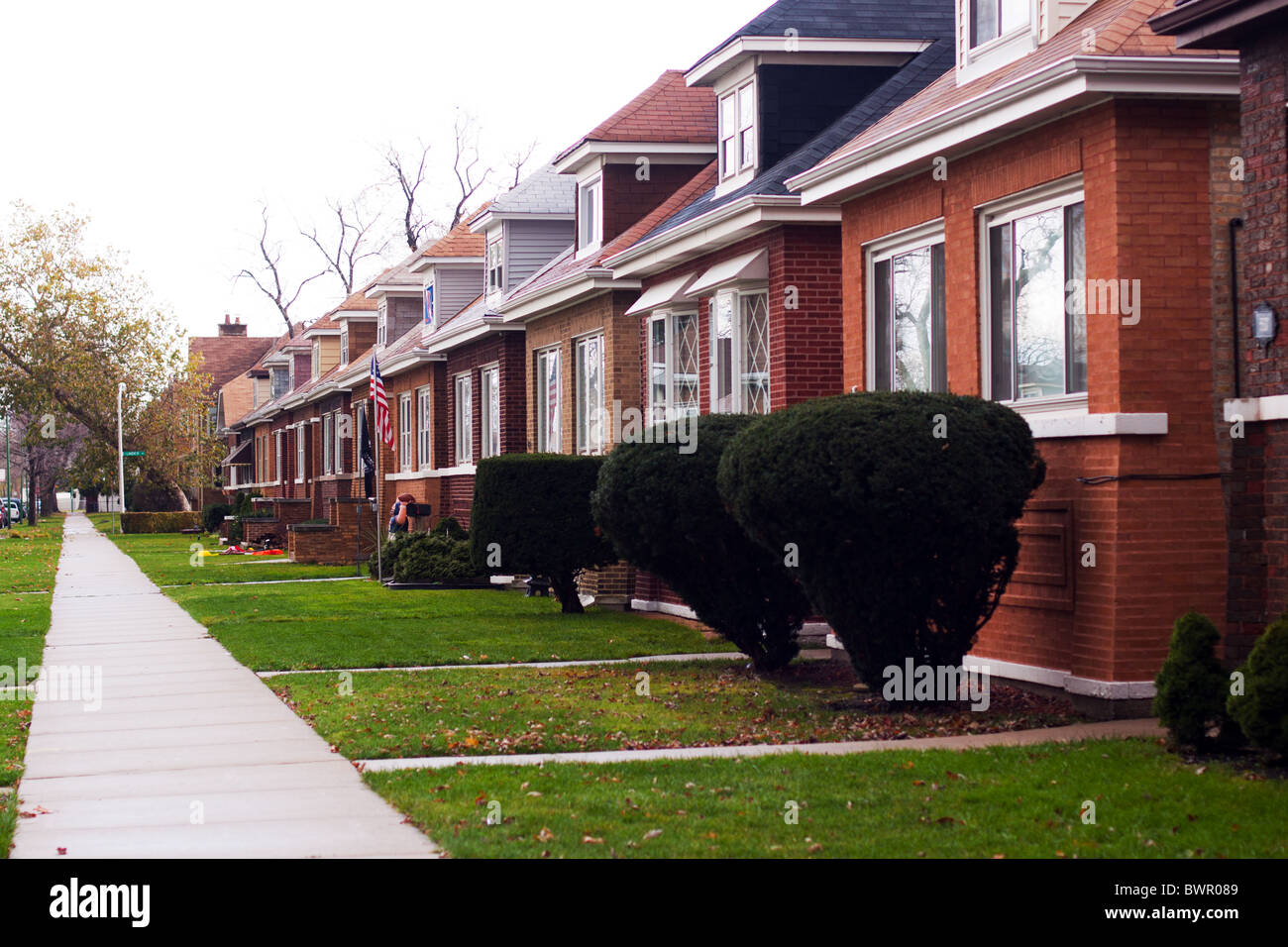 A row of bungalow type homes typical of the south side of chicago il