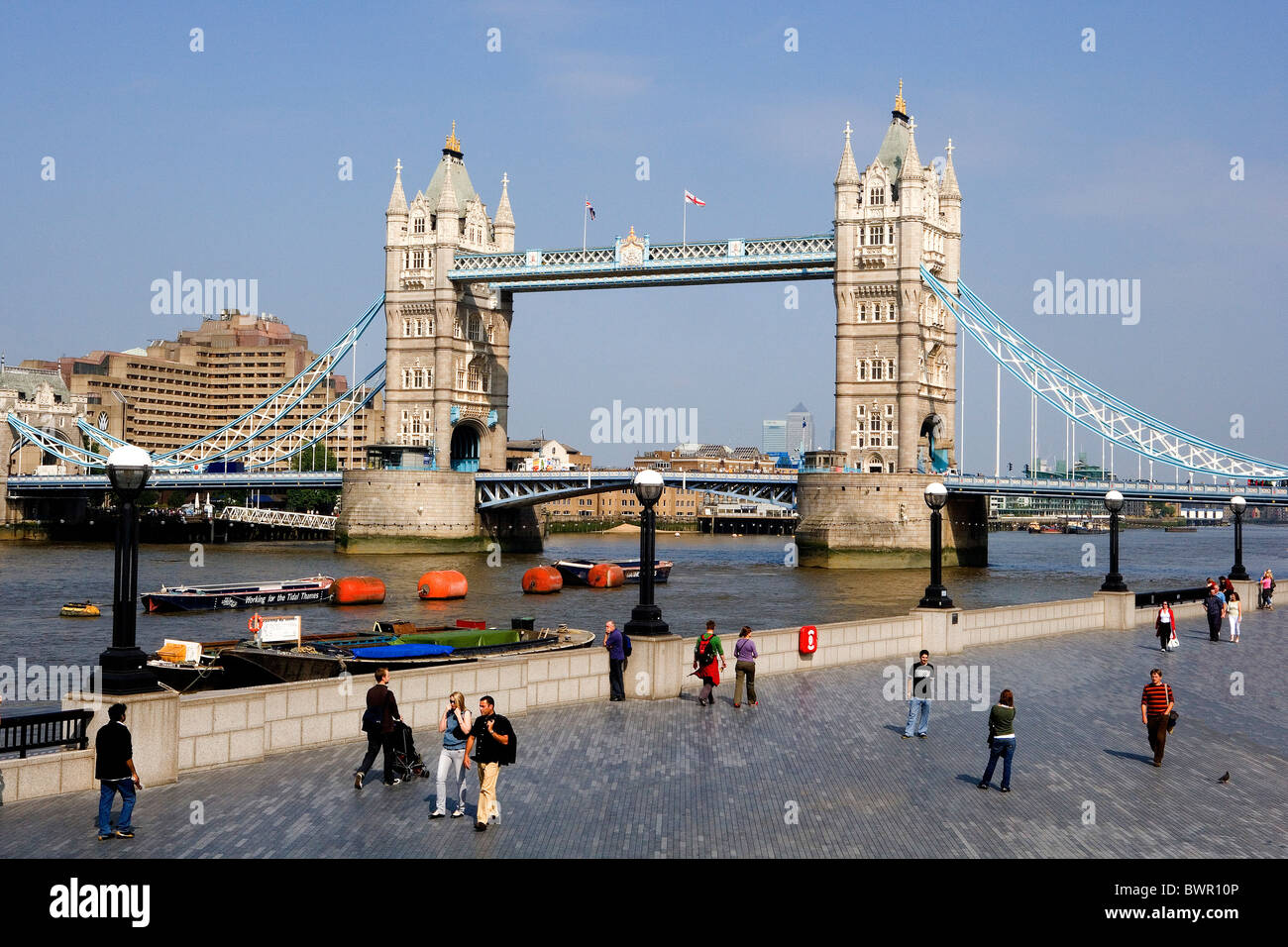 UK London City Tower Bridge Landmark Thames River Shore