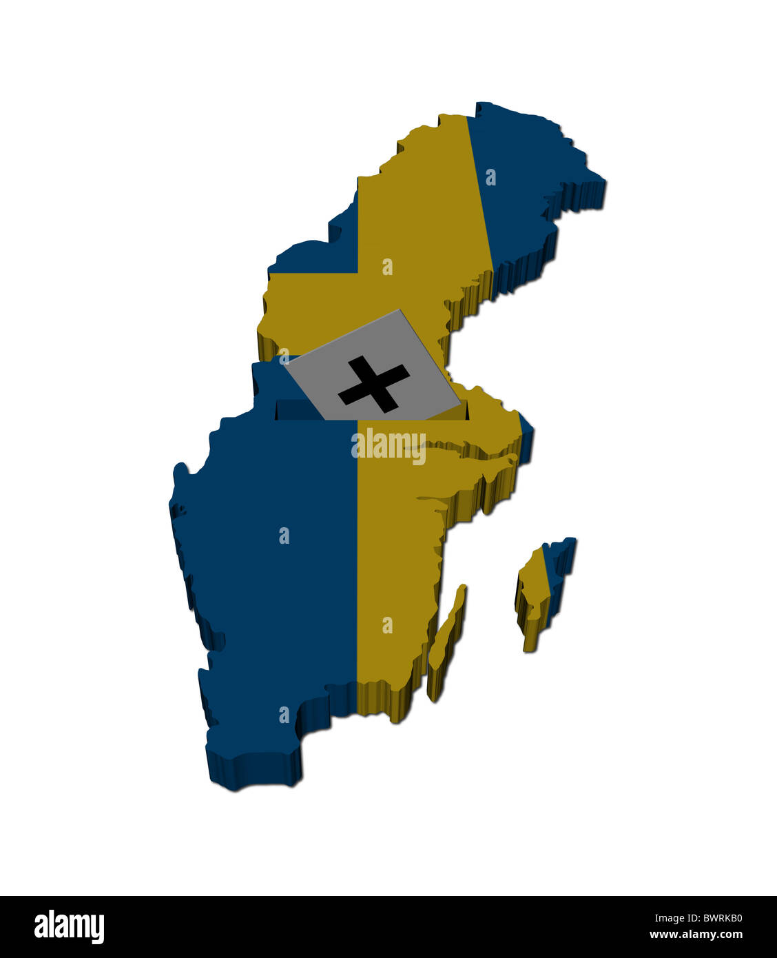 Sweden Election Map With Ballot Paper Illustration Stock Photo - Sweden election map