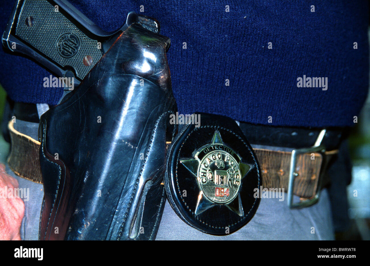 chicago police detective badge and gun stock photo royalty free