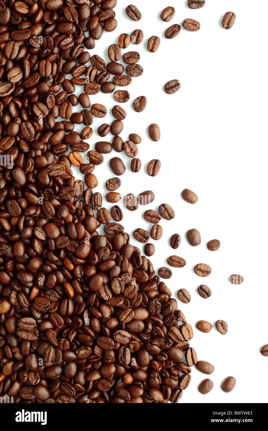 coffee beans wave with copy space on a white background