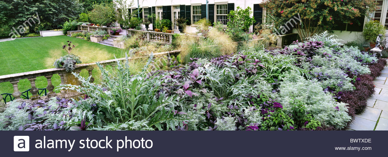 The Terrace Garden, Chanticleer Garden, Pennsylvania, USA. Large Silver U0026  Purple Themed Herbaceous Perennial Border