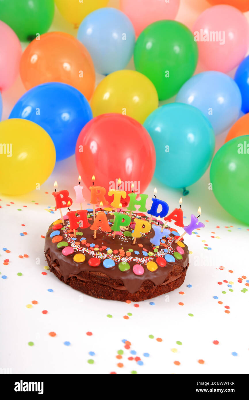 Birthday cakes Happy Birthday cake candles balloons party