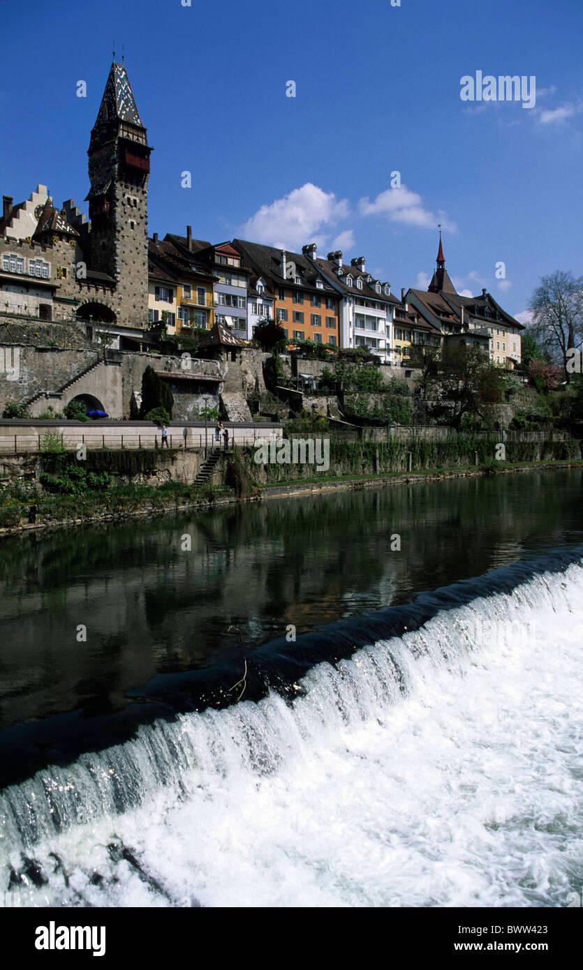 Switzerland Europe Bremgarten Canton Aargau Old Town Reuss river