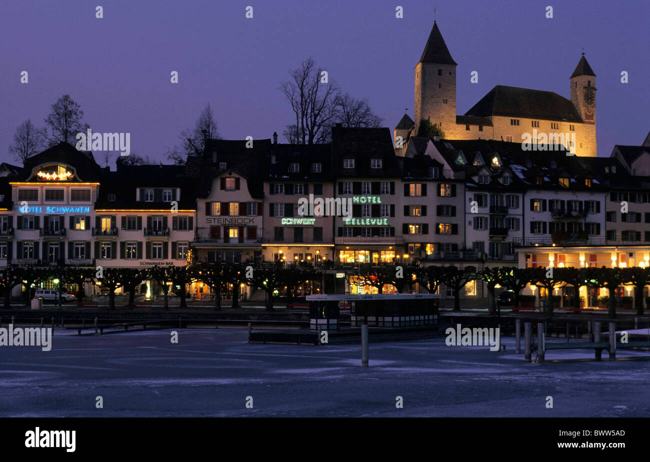 Switzerland Europe canton St Gallen Lake Zurich water Rapperswil
