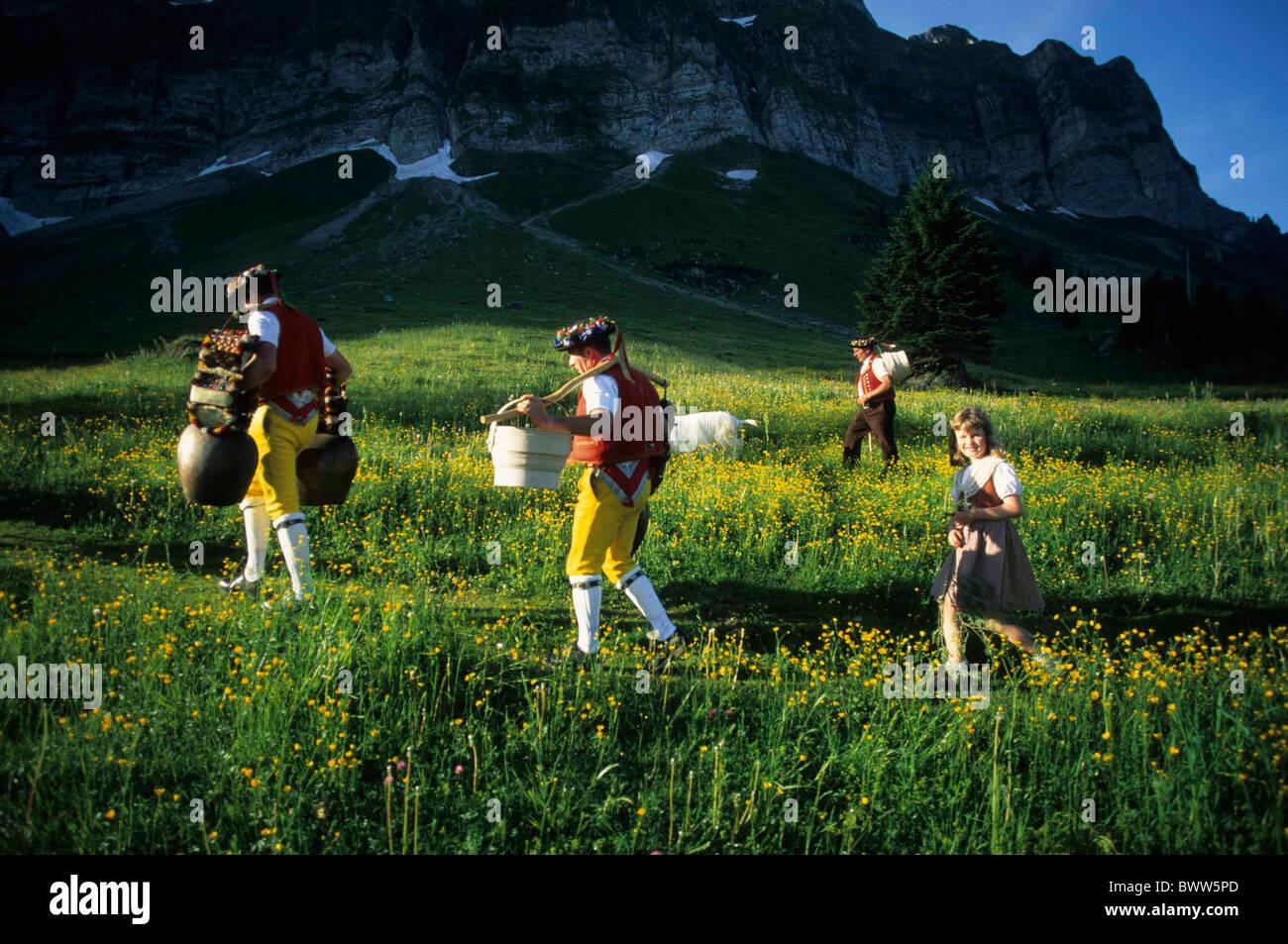Switzerland Europe Canton Appenzell Ausserrhoden Alpstein mountains