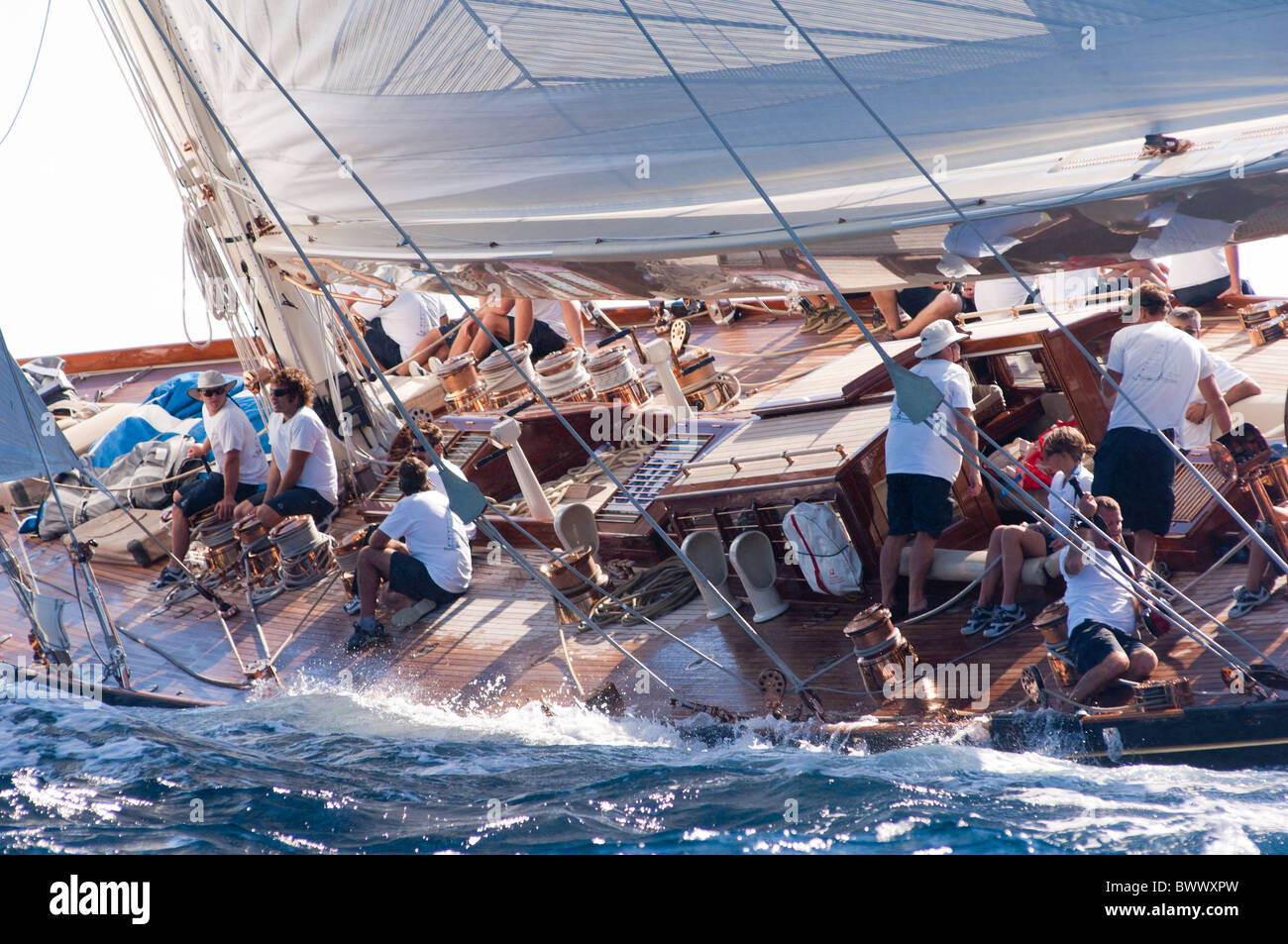 classic yacht shamrock v racing in the mediterranean off cannes in stock photo royalty free. Black Bedroom Furniture Sets. Home Design Ideas
