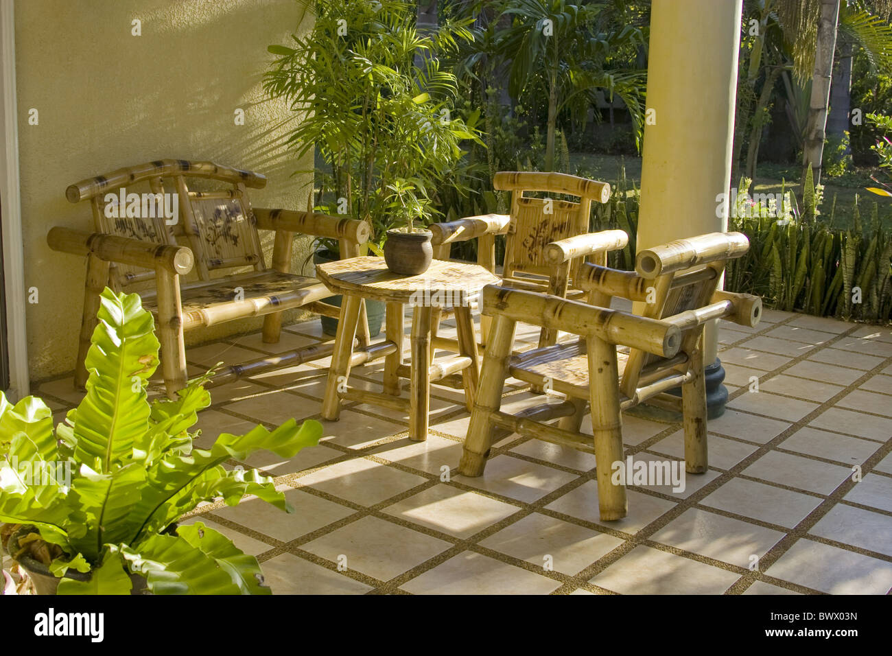 Garden furniture chairs table made from bamboo. Garden furniture chairs table made from bamboo Stock Photo