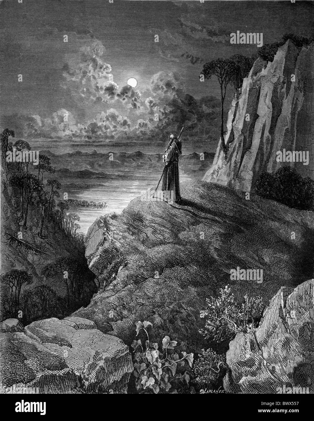 Gustave Doré; The Hermit On The Mountain From Chactas And Atala, A ...