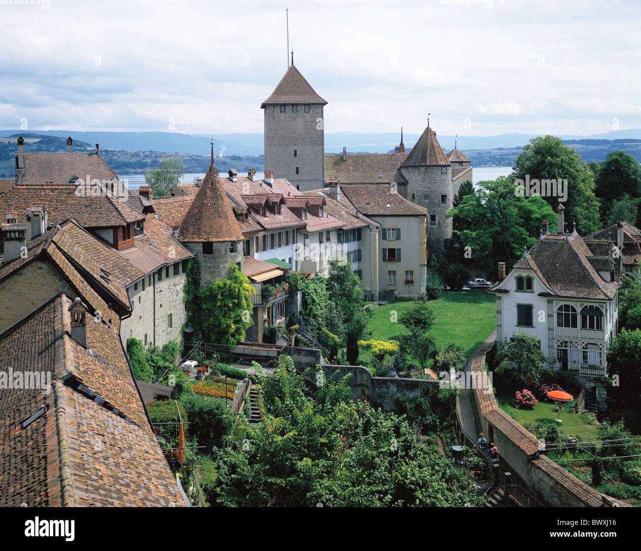 canton freiburg gardens house line murten lake murten castle stock photo royalty free image. Black Bedroom Furniture Sets. Home Design Ideas