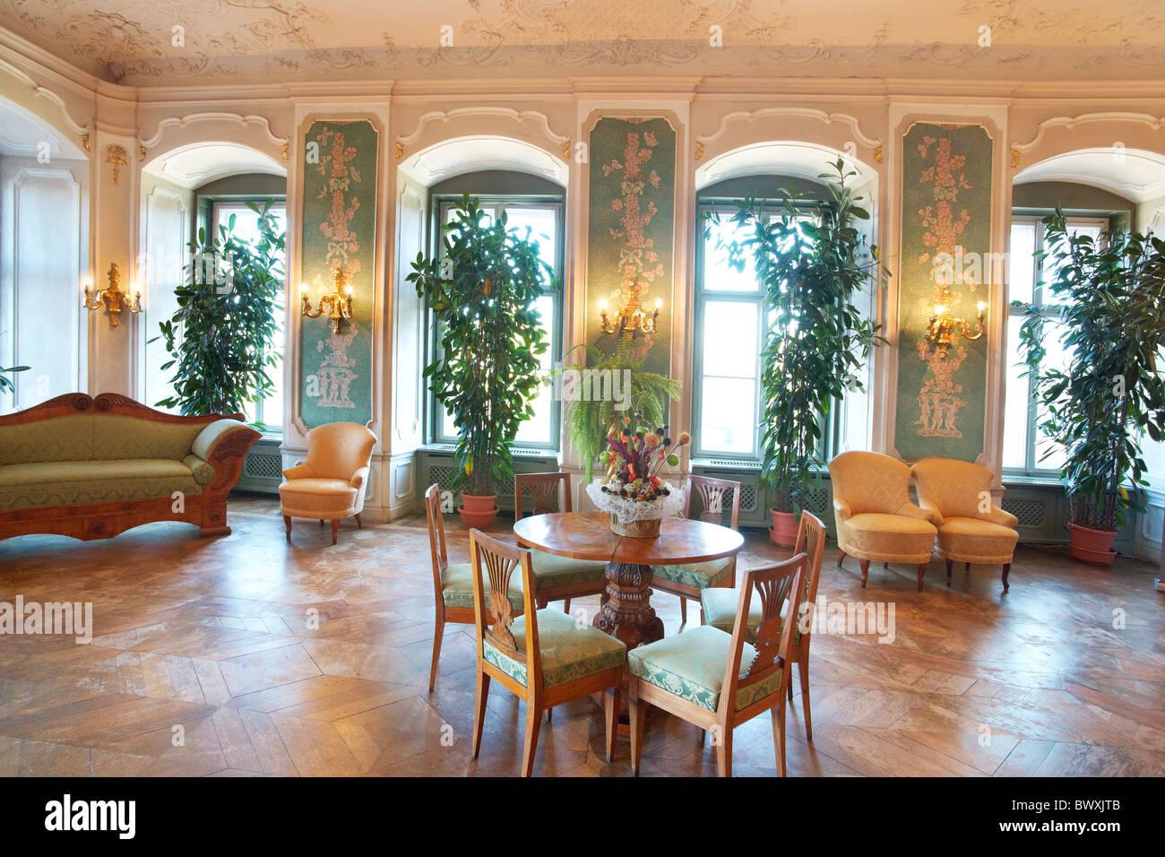 ksiaz castle - interior - green hall, sudeten mountains, silesia