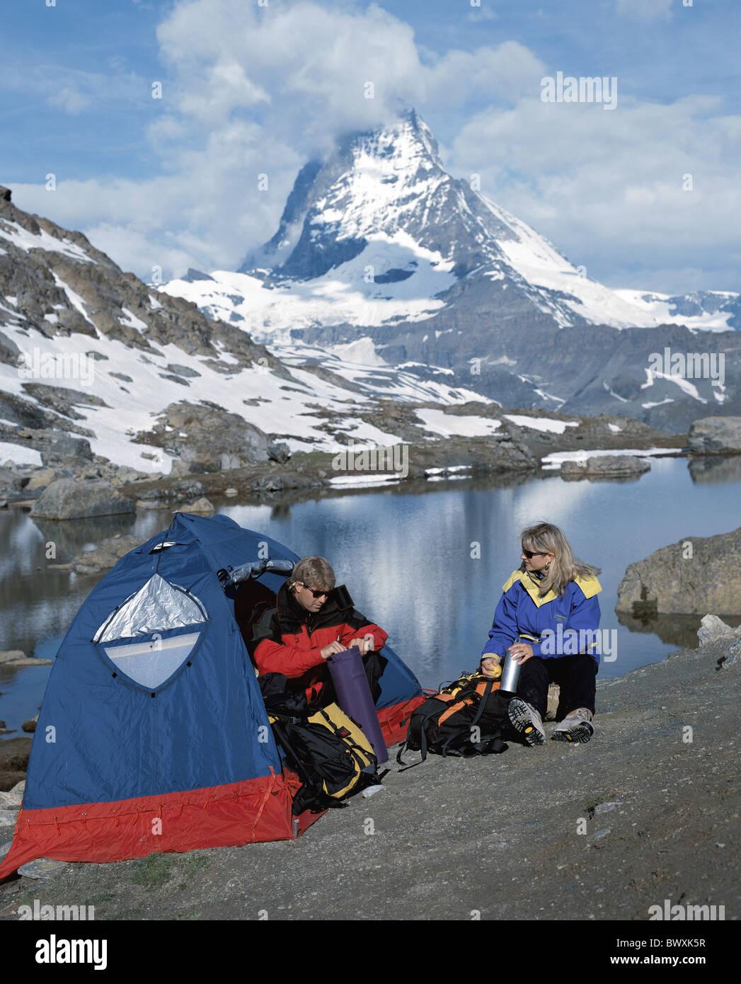 mountain lake c&ing tents tent c&ing alpine Alps mountains trekking walking hiking rock cliff Hochg & mountain lake camping tents tent camping alpine Alps mountains ...