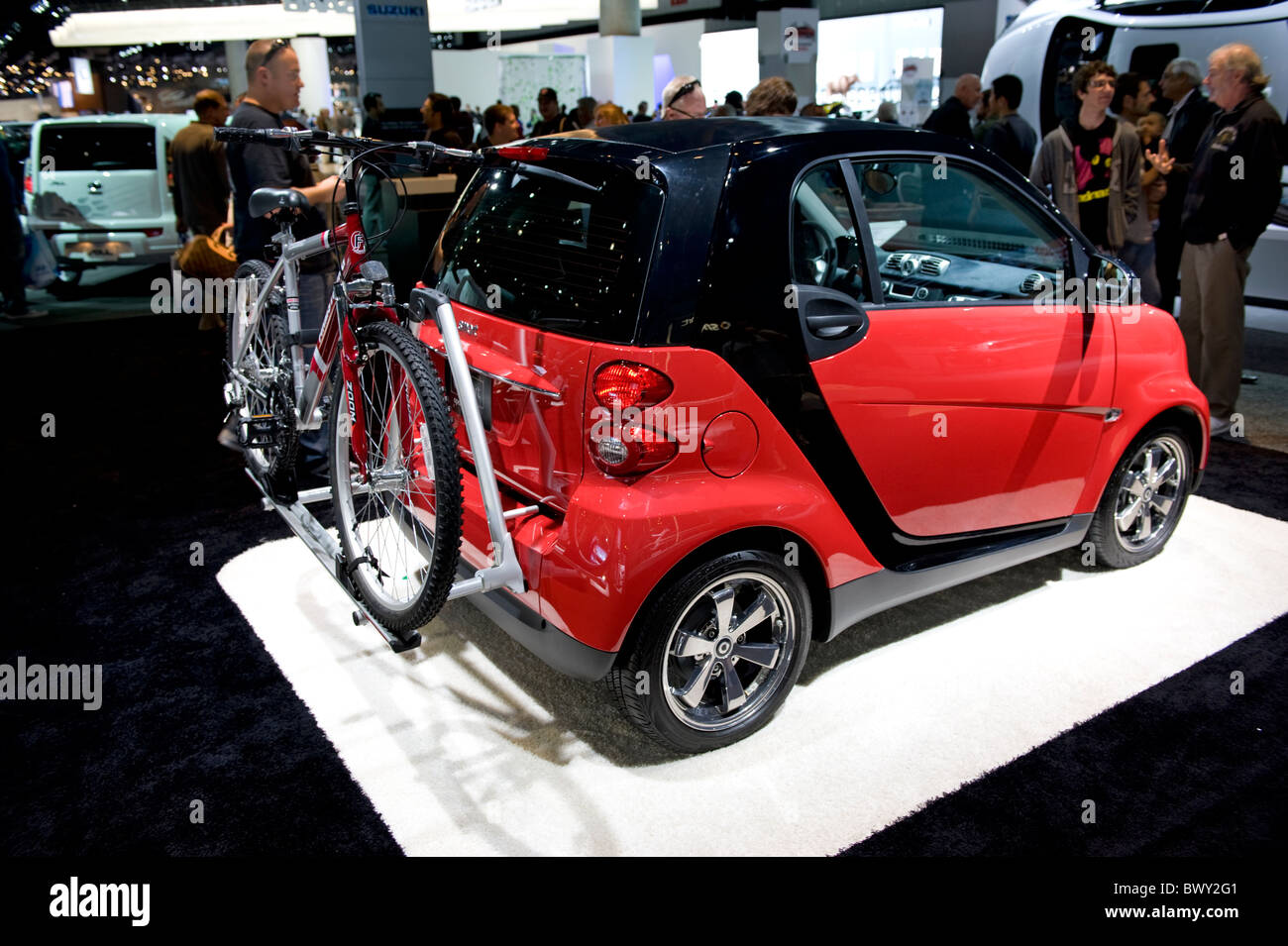 A Smart Car With A Bike Rack At The 2010 La Auto Show In The Los