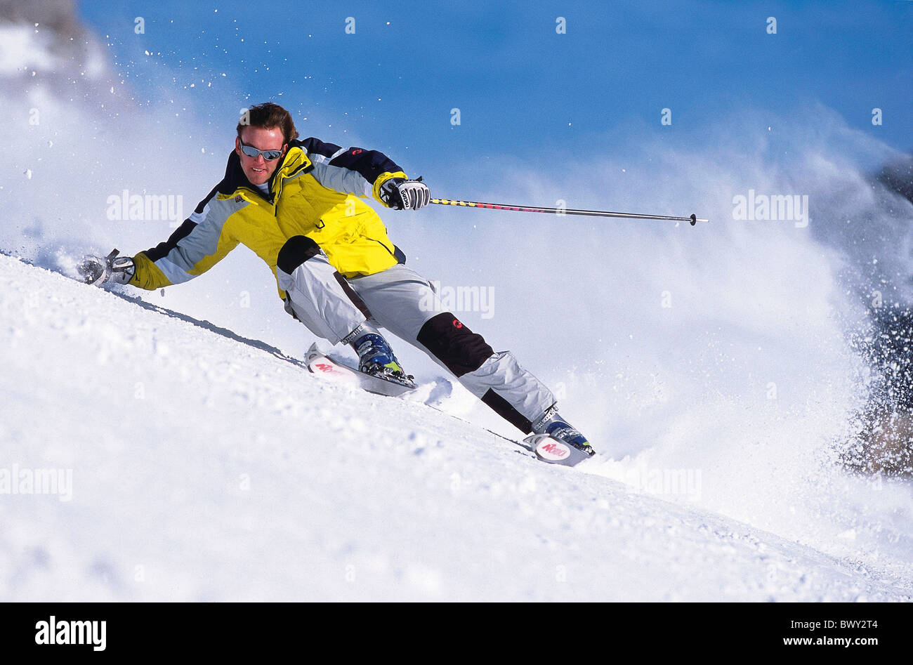 Action carving ski carvingski man snow skiing sport