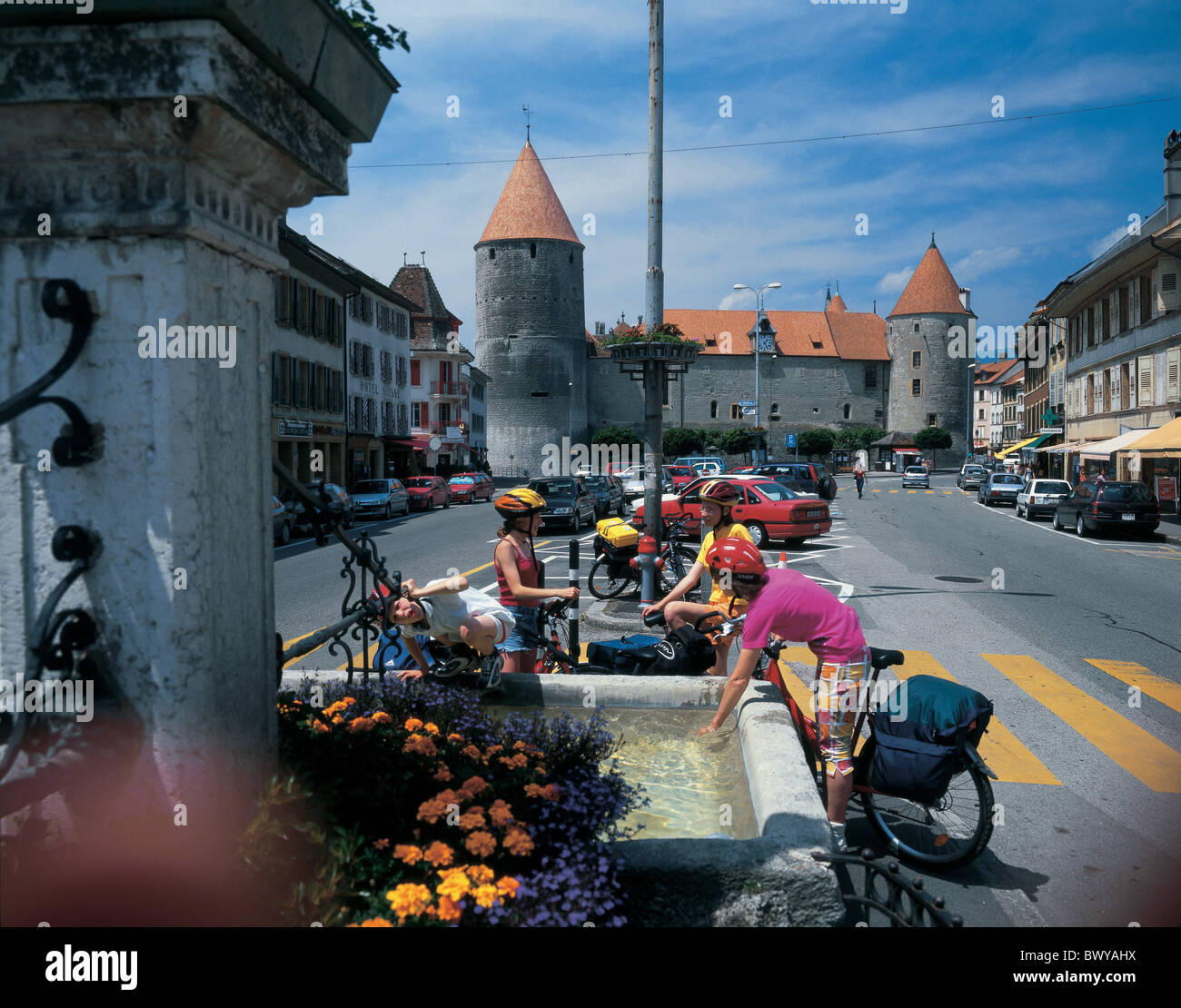 bicycle bike biking break canton Vaud castle children city drinking