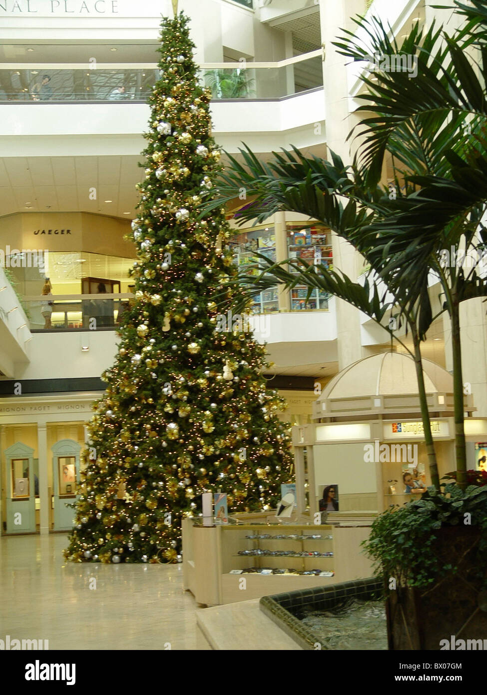 stock photo atrium christmas tree shopping centre entrance hall shops dealings trade commerce inside stores louisiana - Christmas Tree Shopping