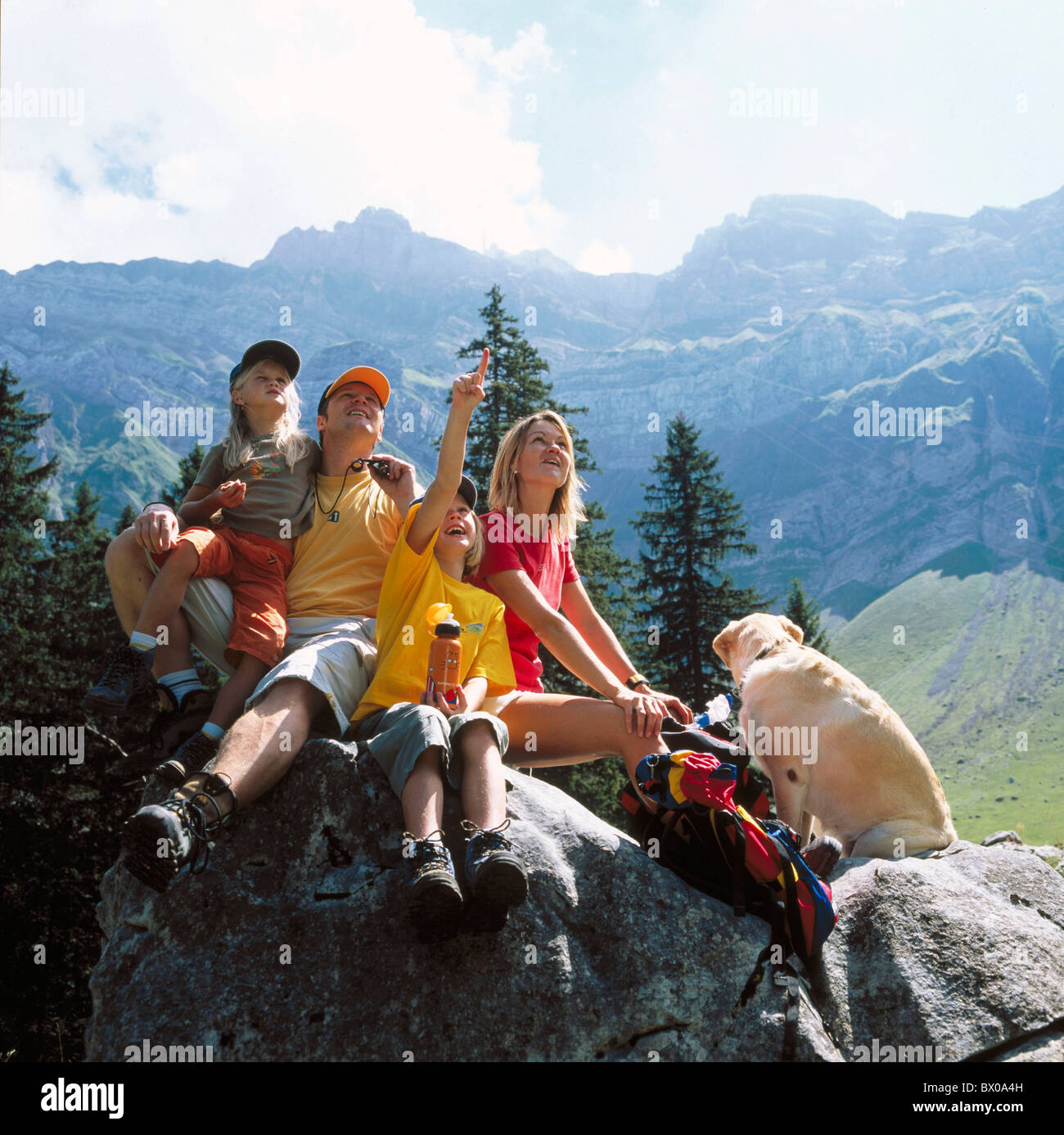 Mountain Wandering Walking Parents Family Cliff Dog Rest Schwagalp Hiking Two Children