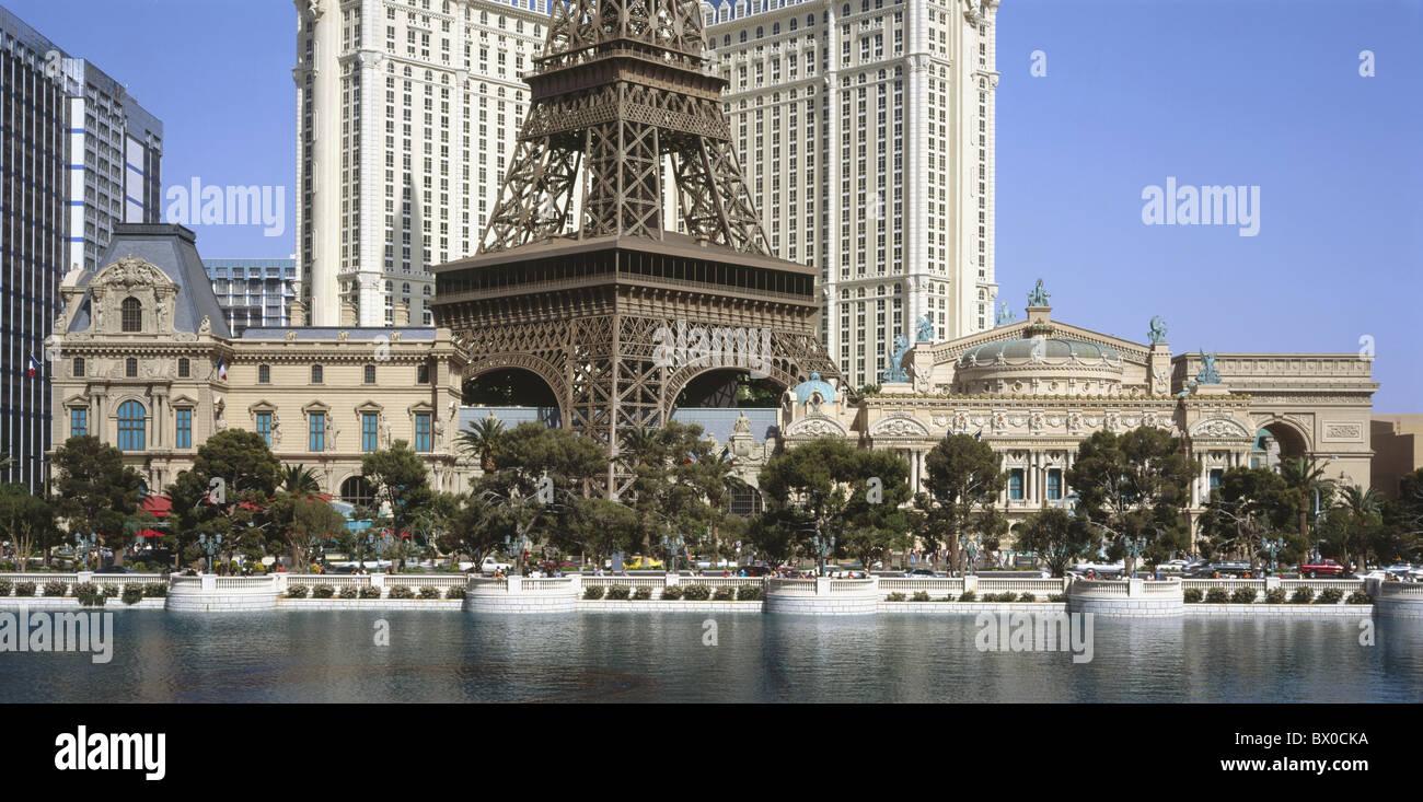 Outside Eiffel Tower Landmark River Flow Hotel Paris Las Vegas Nevada Panorama USA America North