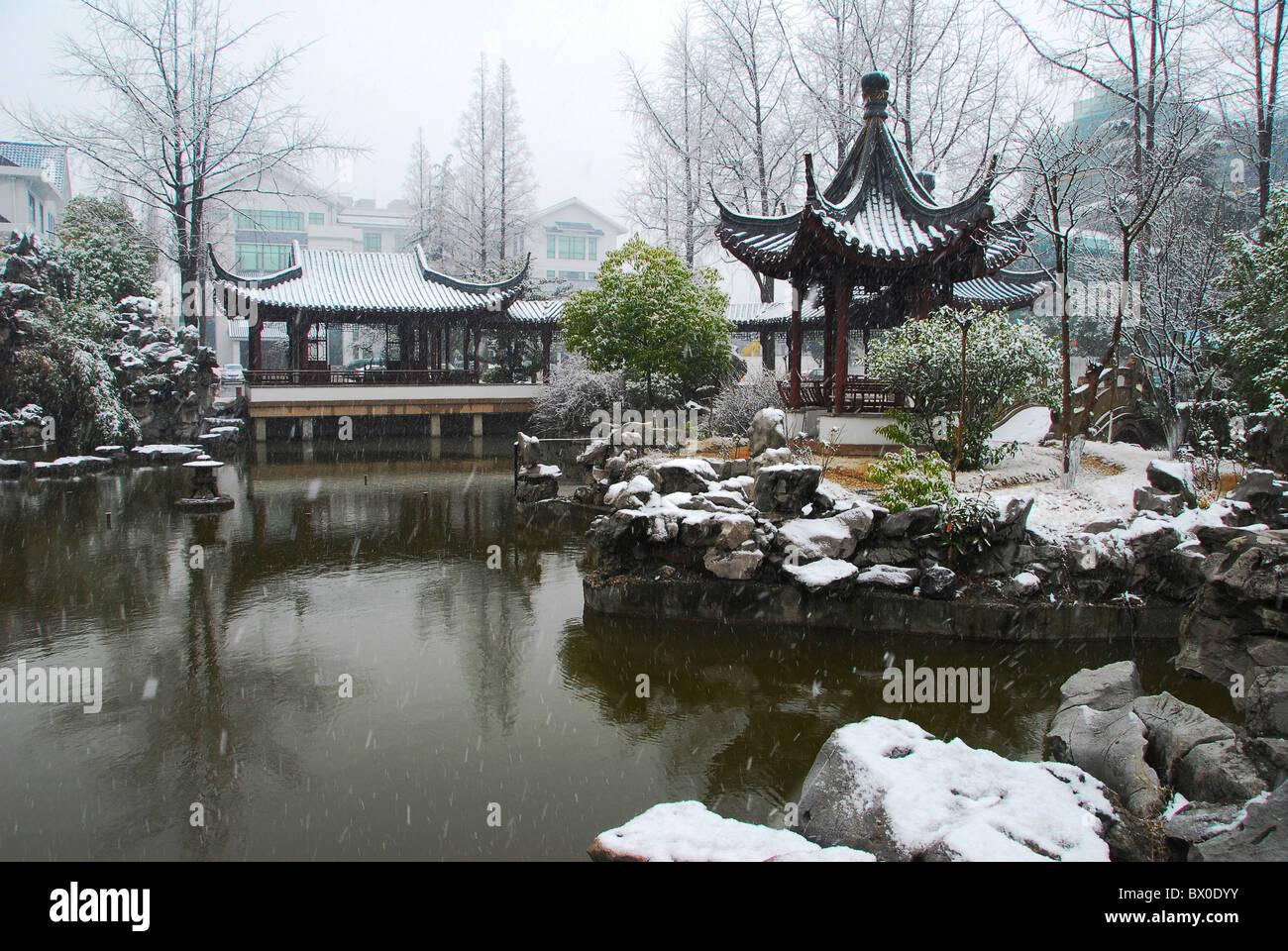 nanyuan park in winter taicang jiangsu province china stock photo royalty free image