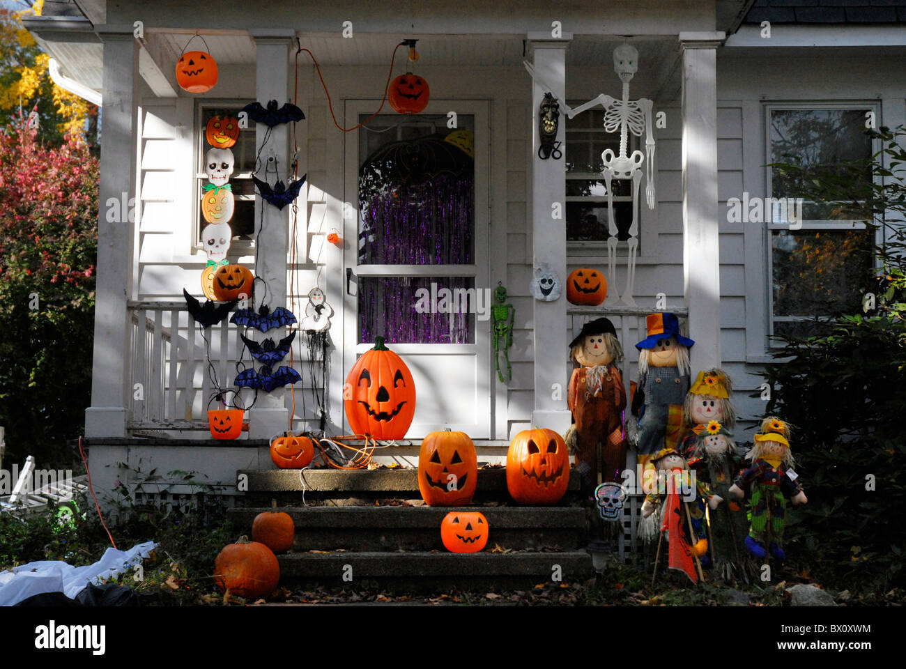 House fron doorstep decorated for Halloween & House fron doorstep decorated for Halloween Stock Photo Royalty ... pezcame.com
