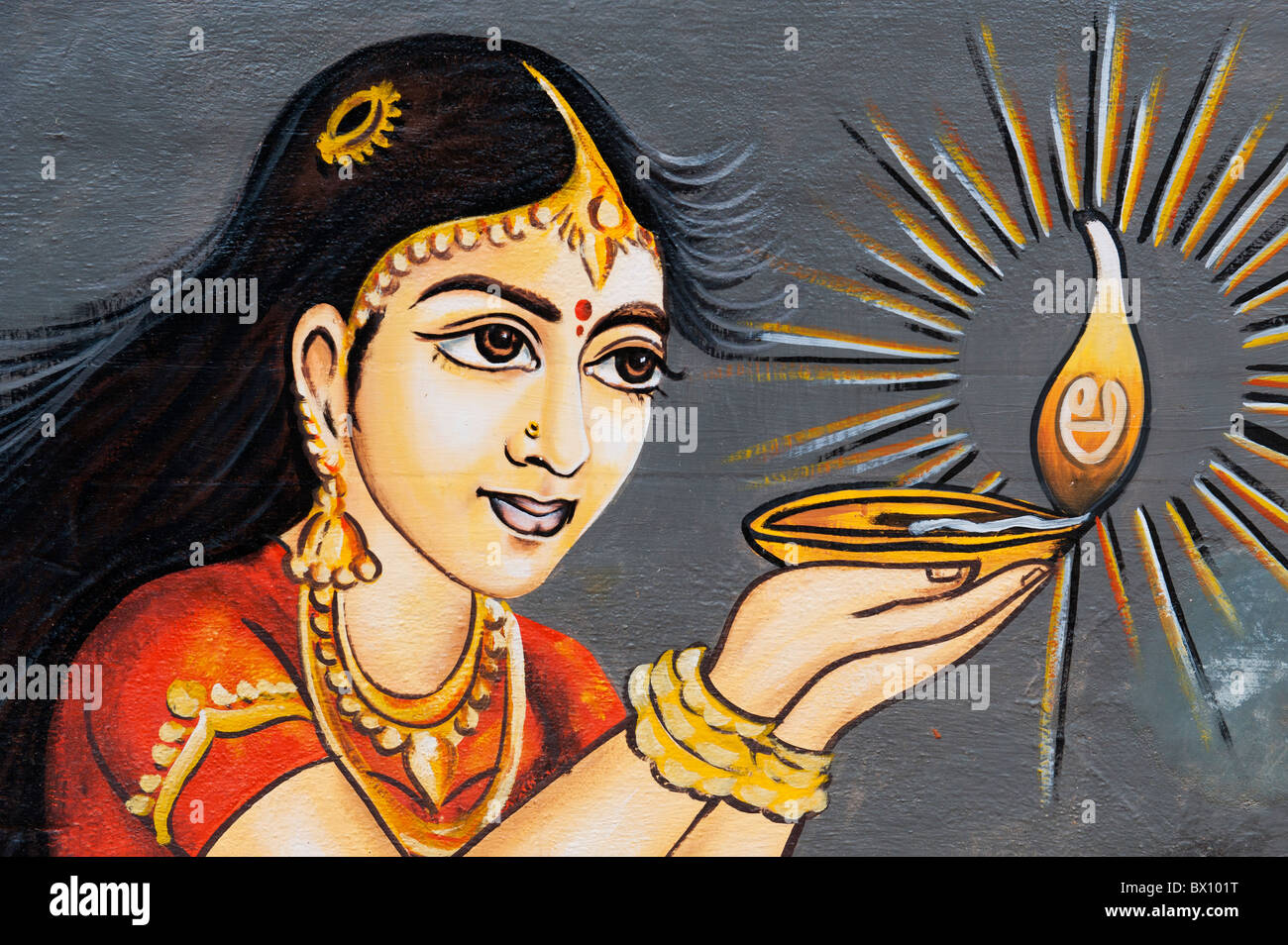 Traditional Indian painting of a Indian woman holding an oil lamp ... for Girl Holding Lamp  197uhy