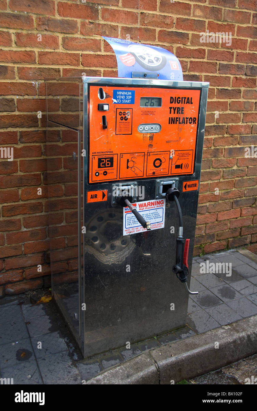 Digital tyre inflator, air and water unit at petrol station, UK Stock Photo, Royalty Free Image ...