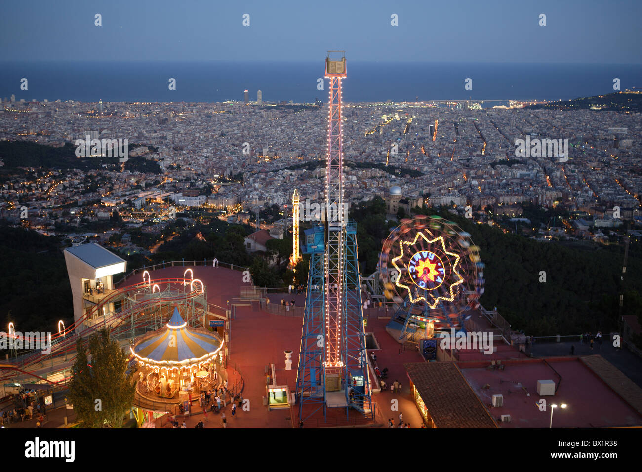 Spain Europe Catalonia Barcelona Tibidabo amusement park fair at Stock Photo,...