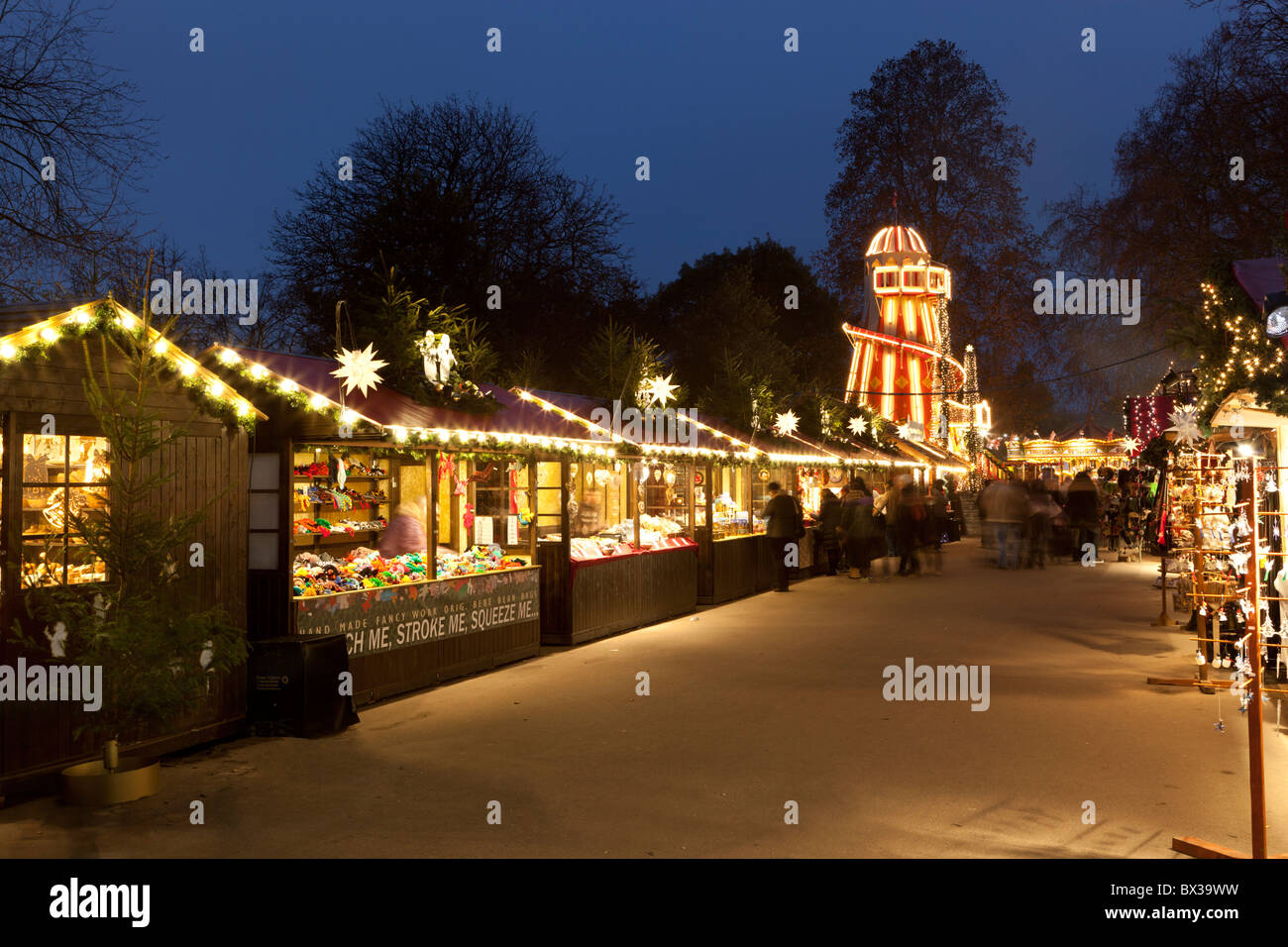 Hyde Park Winter Wonderland Christmas stalls Stock Photo, Royalty ...
