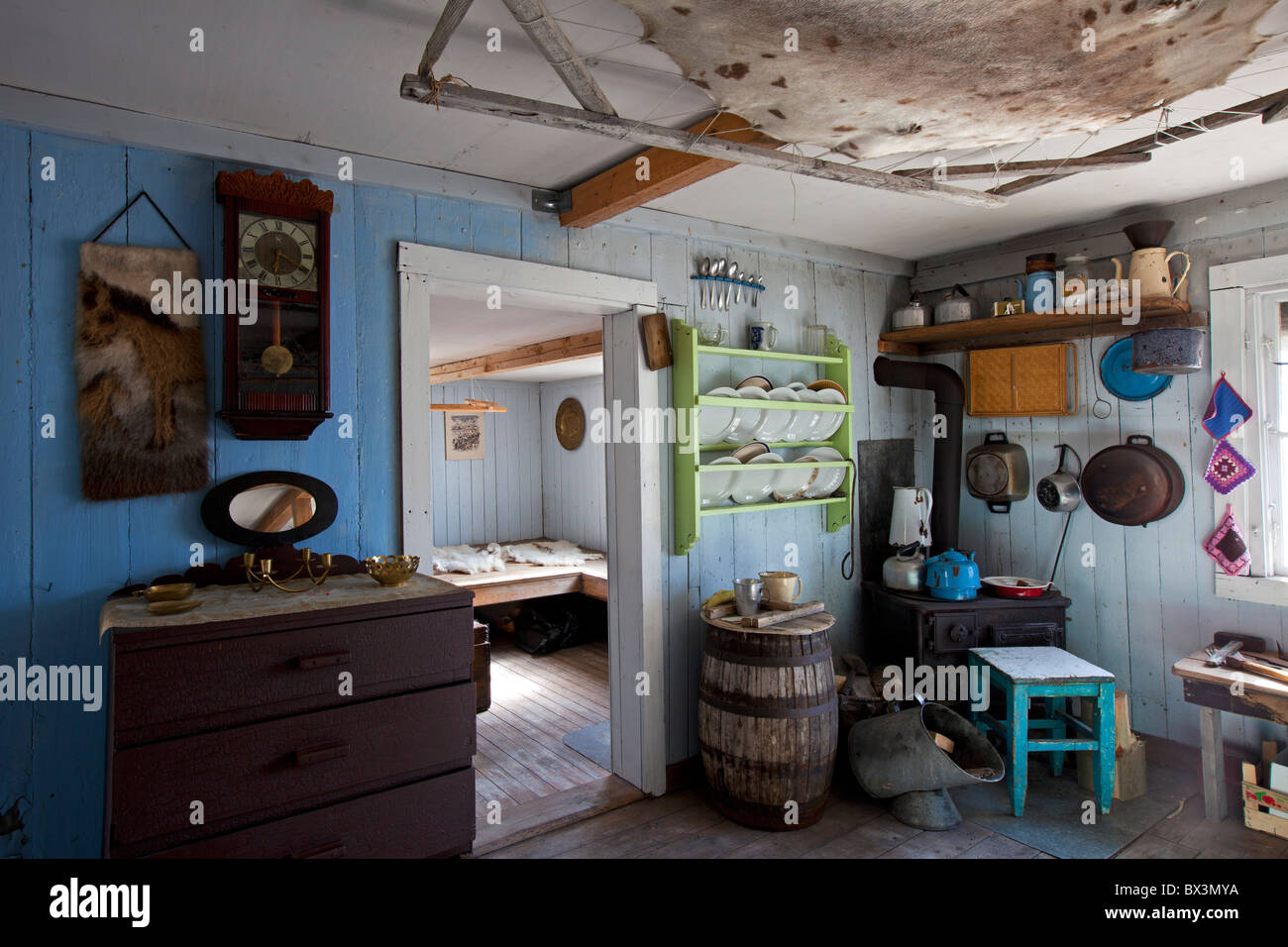 interior of traditional house at the uummannaq museum stock photo