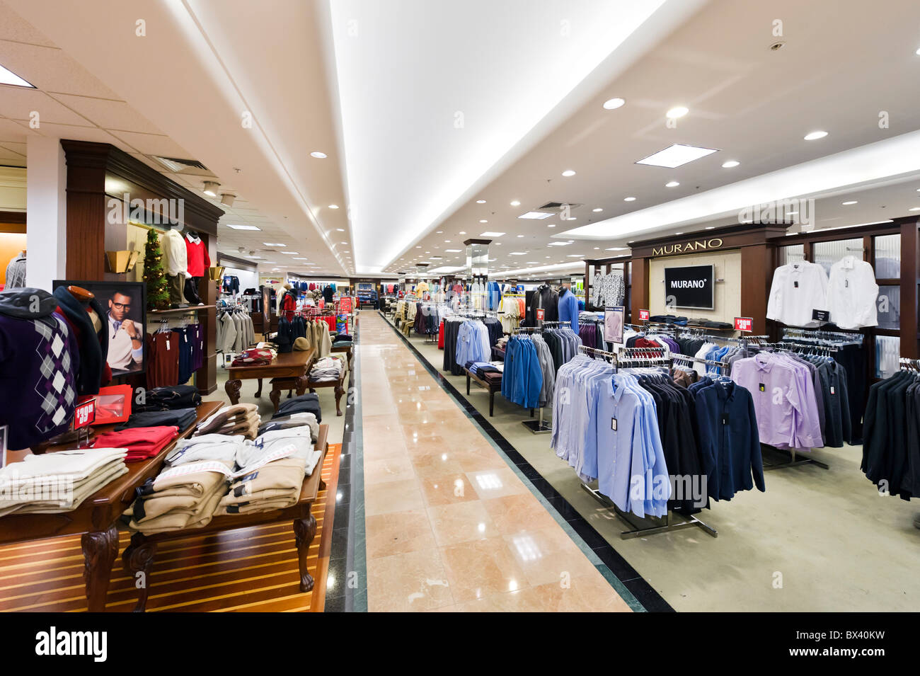 men 39 s clothing department in a dillards store at the eagle ridge stock photo royalty free image. Black Bedroom Furniture Sets. Home Design Ideas