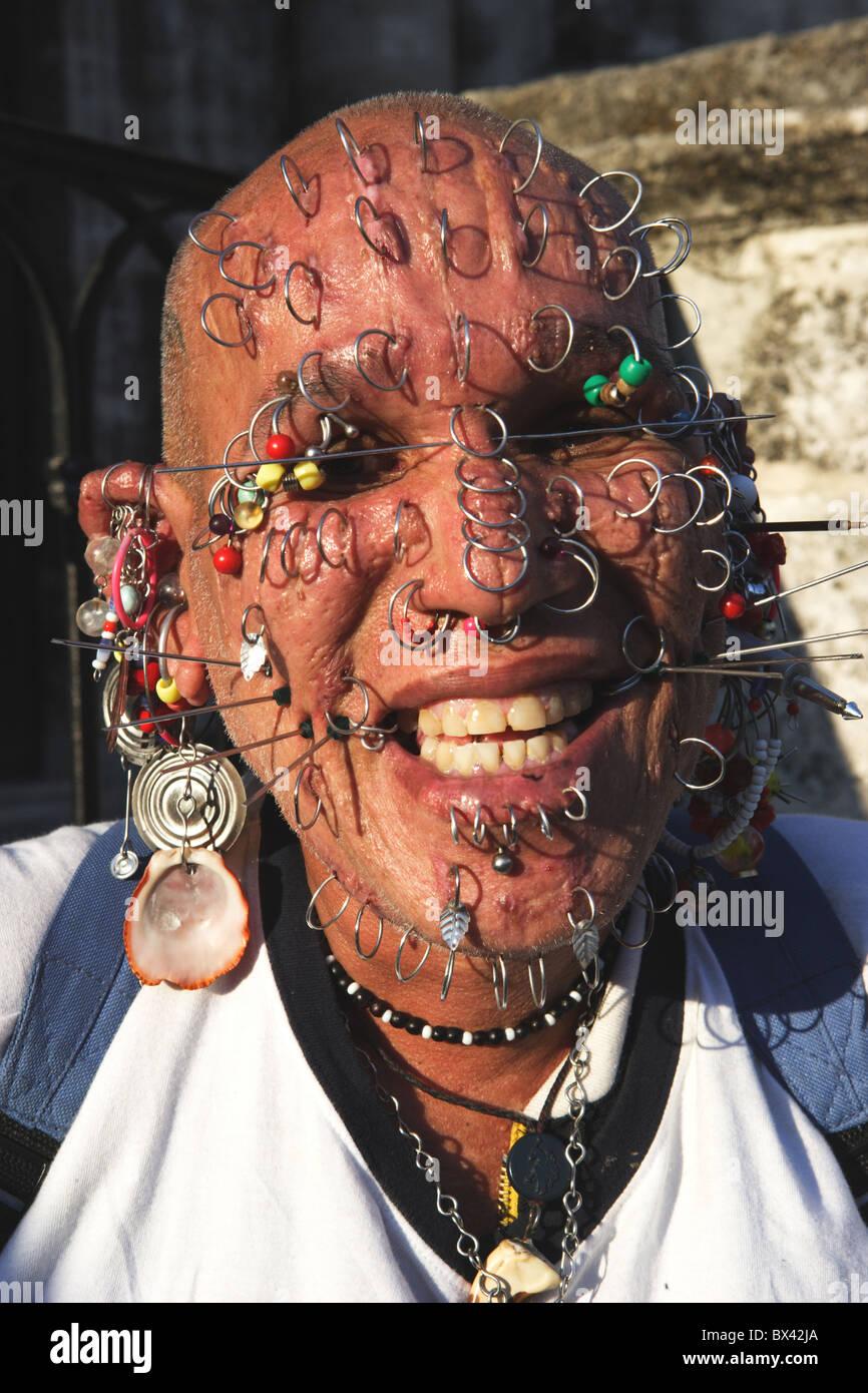 Cuba man portrait Piercings Piercing face extreme body jewellery ...