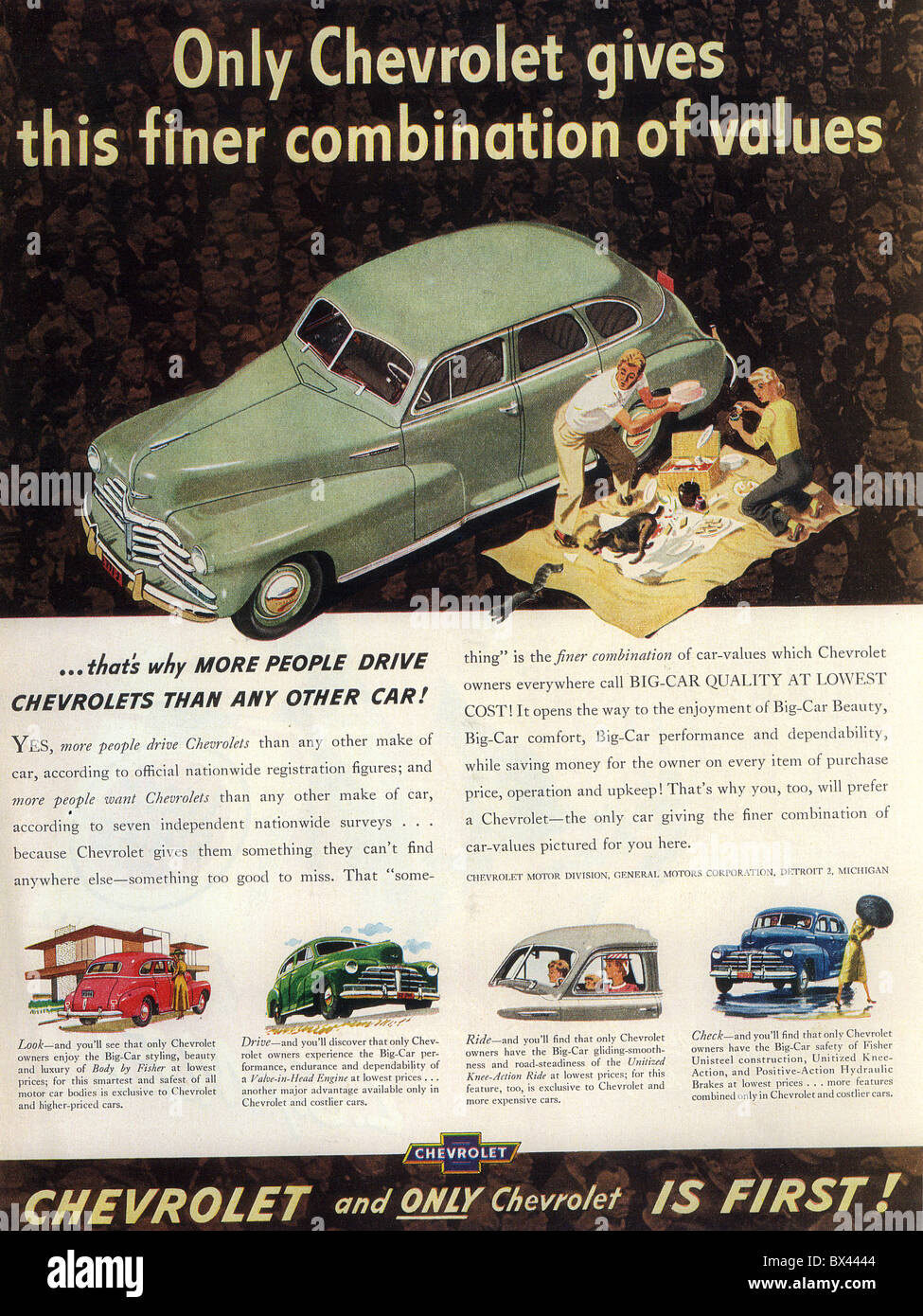 CHEVROLET CAR ADVERT about 1948 Stock Photo, Royalty Free Image ...