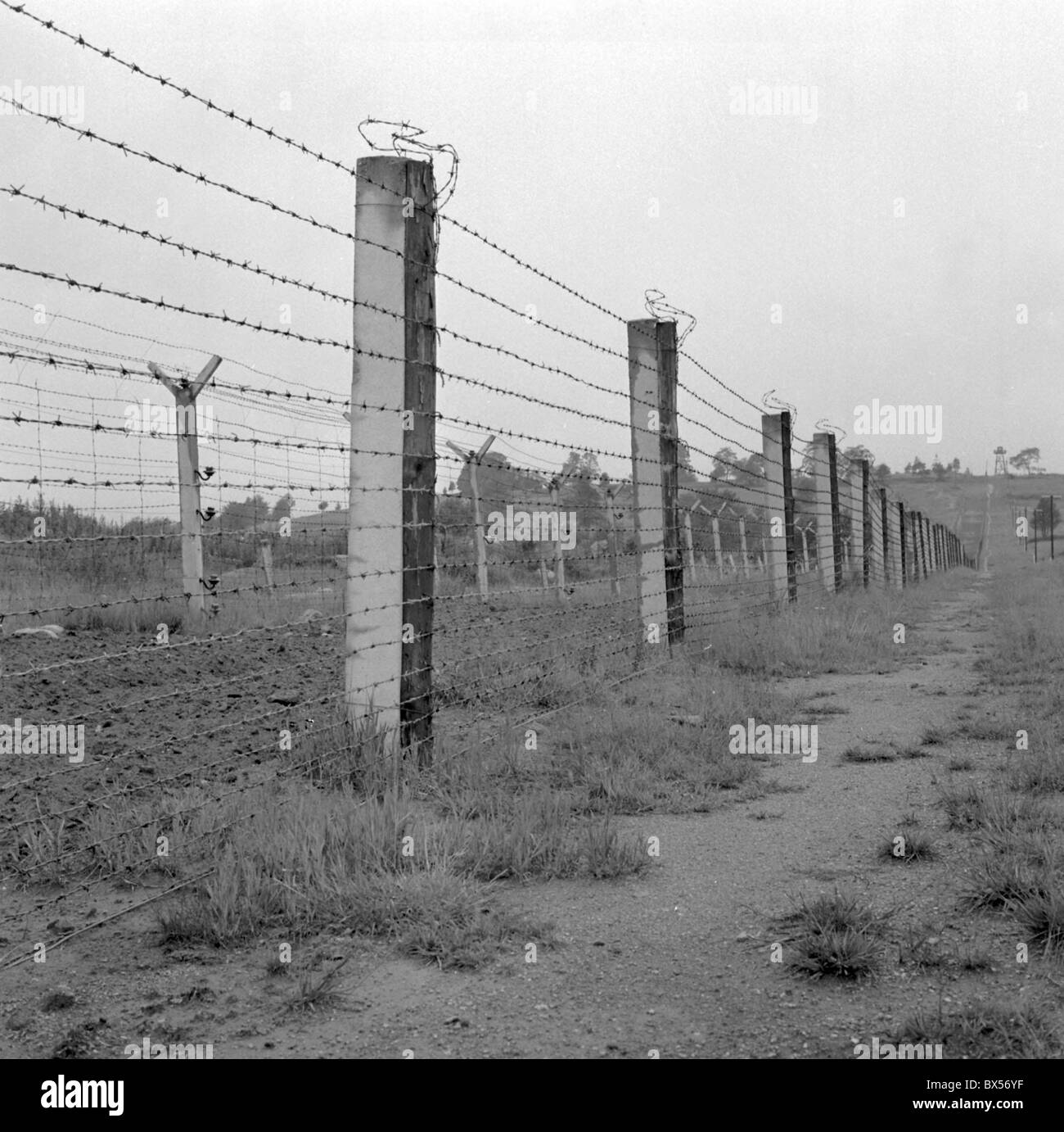 Iron curtain - Iron Curtain Frontier Border Fence Barbed Wire Stock Image